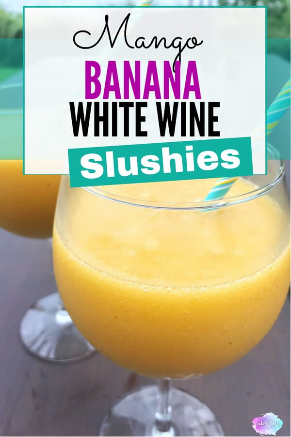 Mango Banana White Wine Slushies are the perfect refreshing cocktails for the summer. All you need are frozen mangoes, bananas, and some white wine! Enjoy! #summercocktails