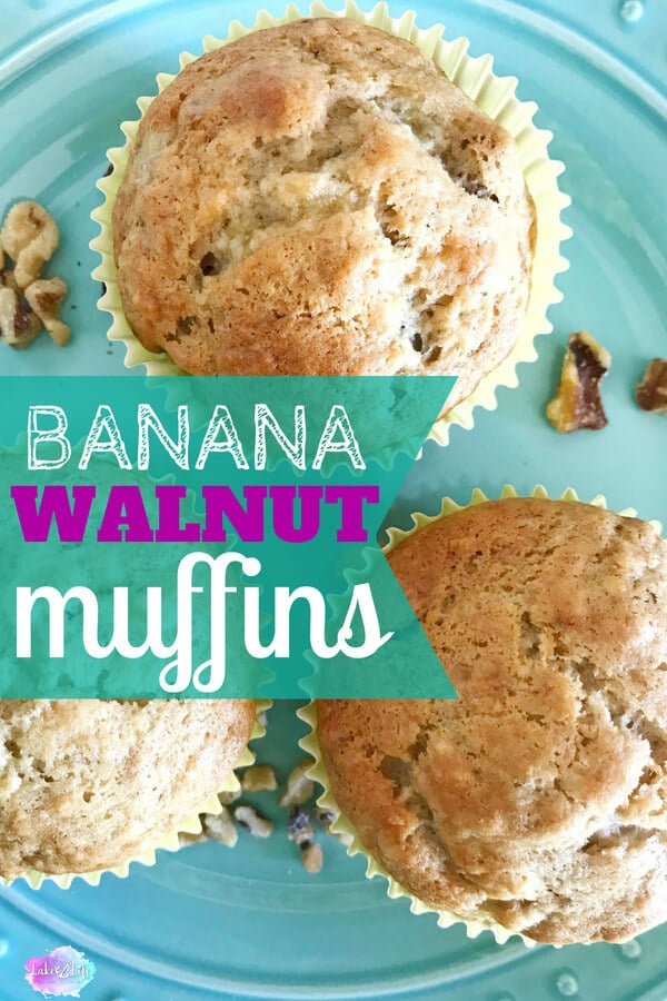 Do you have overripe bananas on your kitchen counter and no idea what to make with them? Try my recipe for Easy Banana Walnut Muffins. These moist muffins are the perfect breakfast for busy mornings when you need a quick meal on the go. I make these Easy Banana Walnut Muffins in two sizes, regular and mini, so everyone in the family is happy! #bananas #muffins #easybreakfast