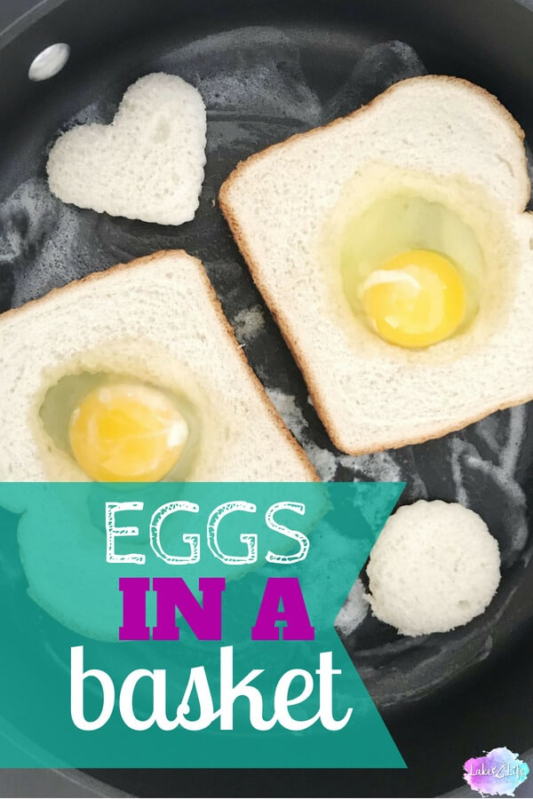 Eggs in a Basket are a fun and easy breakfast dish that can be whipped up in no time. If eggs and toast aren't filling enough, add a side of crispy bacon or fresh cut fruit for your family to enjoy. Be creative and cut different shapes out from the bread for holidays and special days. Grab a cup of coffee and enjoy! Easy Breakfast Ideas #breakfast #eggs