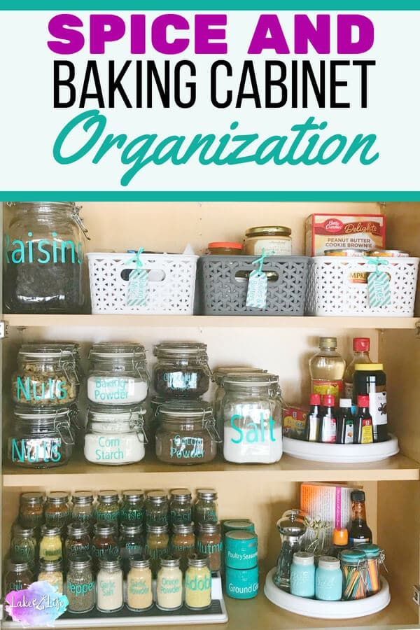 Are you someone who has a completely disorganized spice and baking cabinet? I was one of those people until I finally decided to bite the bullet and do a spice and baking cabinet organization project in my kitchen. Free printable also included. #pantry #kitchenorganizing #organizing