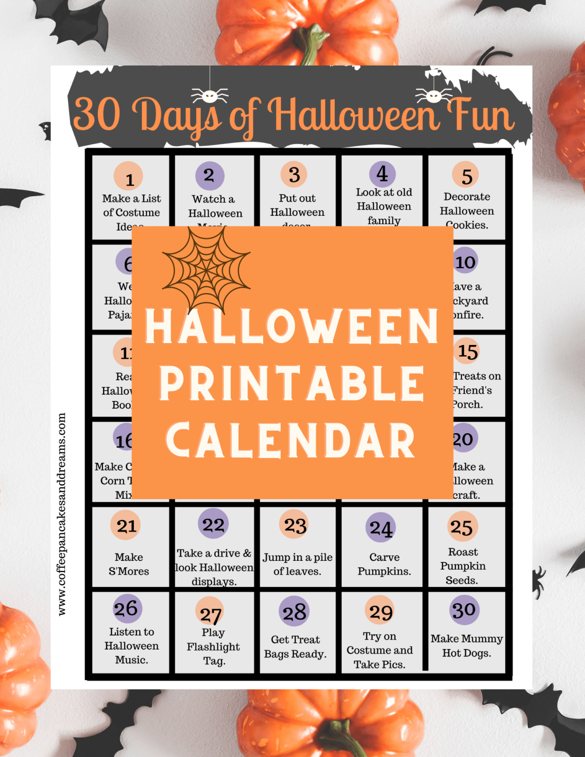 Halloween printable calendar with activities