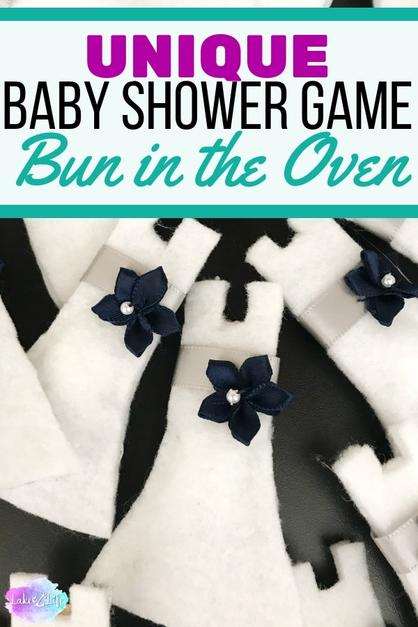 There's a Bun in the Oven is a unique baby shower game that is perfect for the next shower you're hosting. Not only is it a game, but it also doubles as an accessory to wear at the shower. Free pattern is available in the resource library! #babyshowergame #babyshower #babyshowerfavor