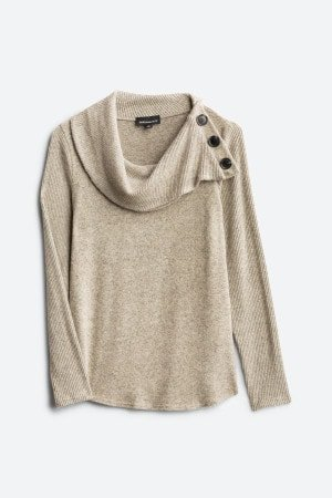 FORTUNE + IVY Kaavia Button Detail Brushed Knit Top