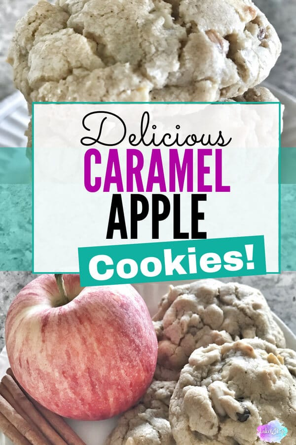 These caramel apple cookies are such an addicting dessert that you'll need a plan to distribute some to others or you'll end up eating them all yourself! Easy cookie recipe. #fallfood #cookies
