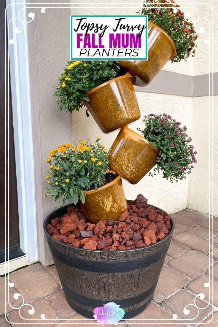 DIY Pumpkin Topsy Turvy Planter