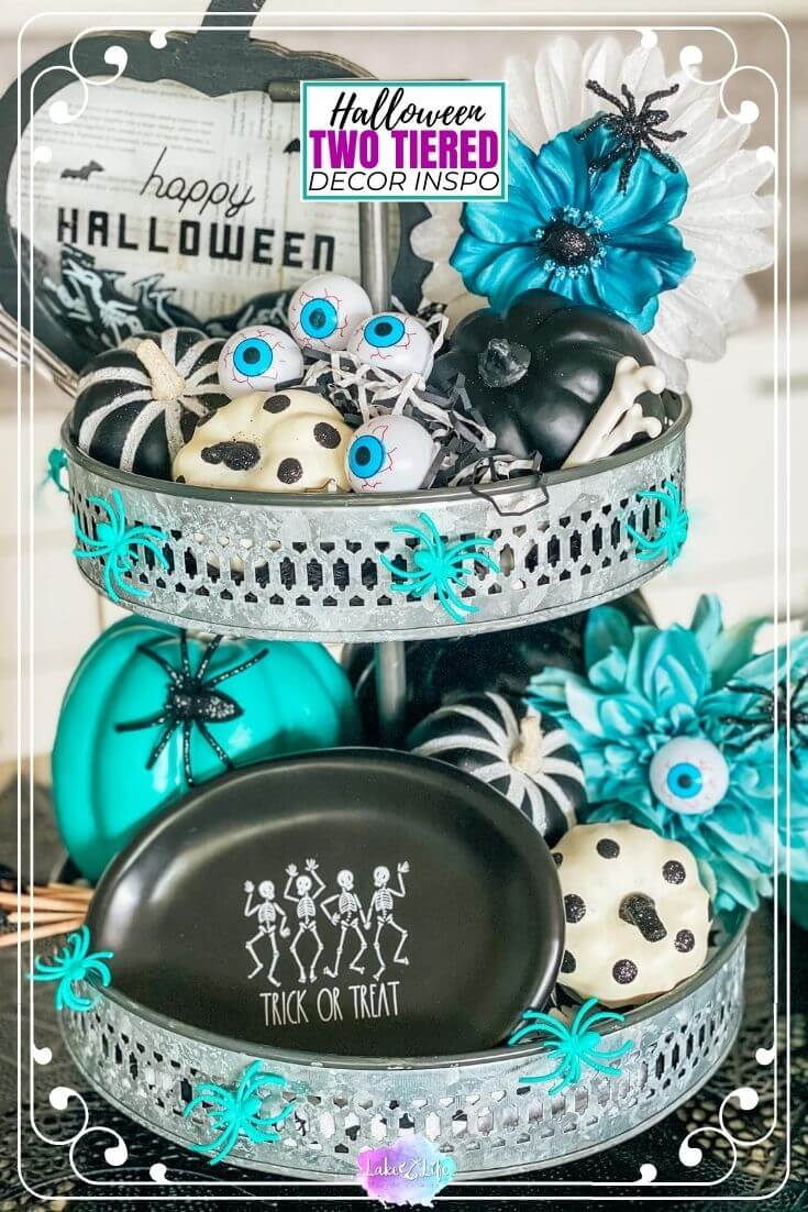 Halloween Tiered Tray Decor | Halloween Home Decor Ideas