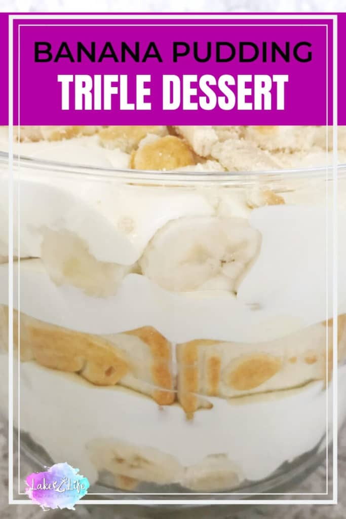 Nothing says comfort food more than this yummy Banana Pudding Trifle. This dessert is a super easy treat to share with a crowd. Bring this trifle to a party, potluck or just indulge in it all week long in your own home! I snagged this recipe from Paula Deen years ago and I've never looked back. #desserts #trifles #bananapudding #bananadessert #bananas #easydesserts #lakelifestateofmind
