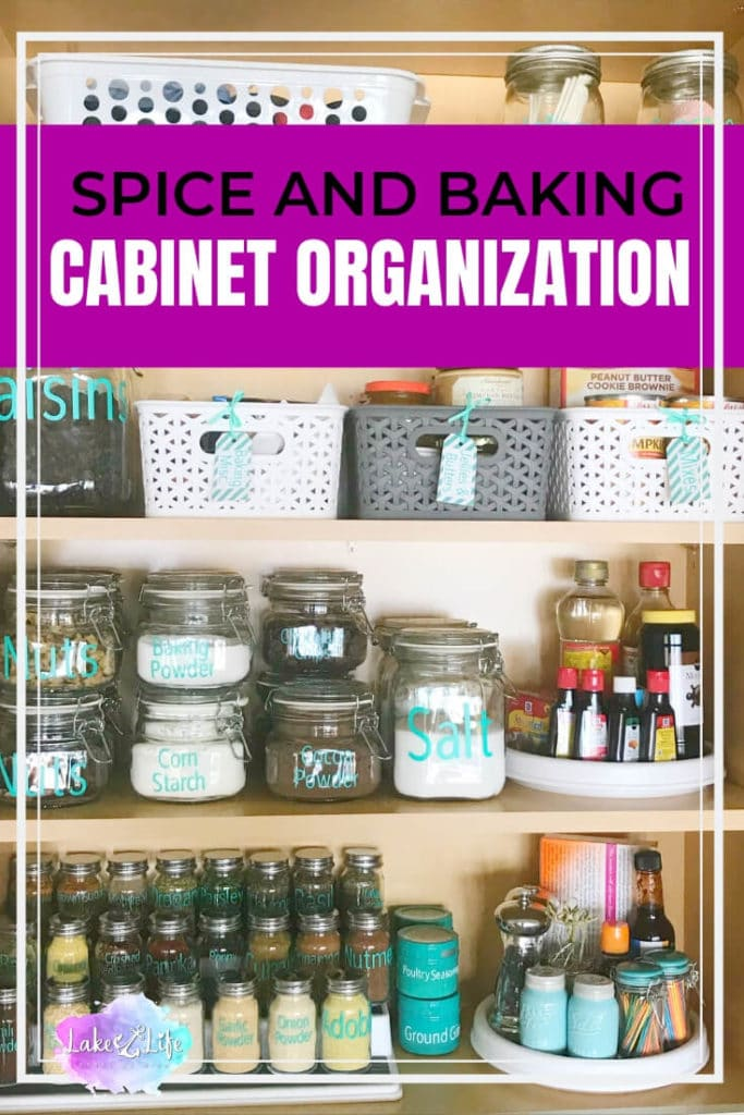Are you someone who has a completely disorganized spice and baking cabinet? I was one of those people until I finally decided to bite the bullet and do a spice and baking cabinet organization project in my kitchen. This is a simple organizing project that can easily be done in a few hours or less! I just love easy organizing projects like these. Free printable also included. #pantry #kitchenorganizing #organizing