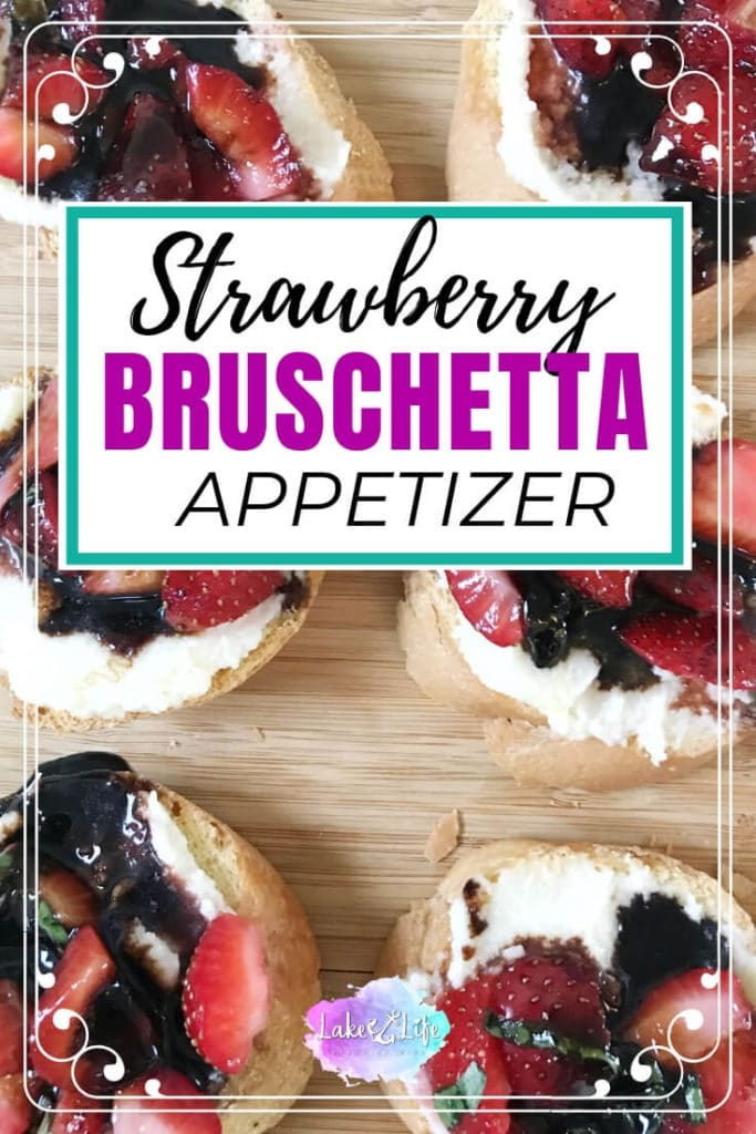 This Strawberry Bruschetta is a fun twist on the ever-so-popular tomato version that we're all used to snacking on. This simple appetizer features a nice toasty baguette smothered with sweet mascarpone cheese and topped with marinated strawberries. A little drizzle of strawberry balsamic glaze takes this finger food to the next level! #bruschetta #appetizers #fingerfood #partyfood #lakelifestateofmind