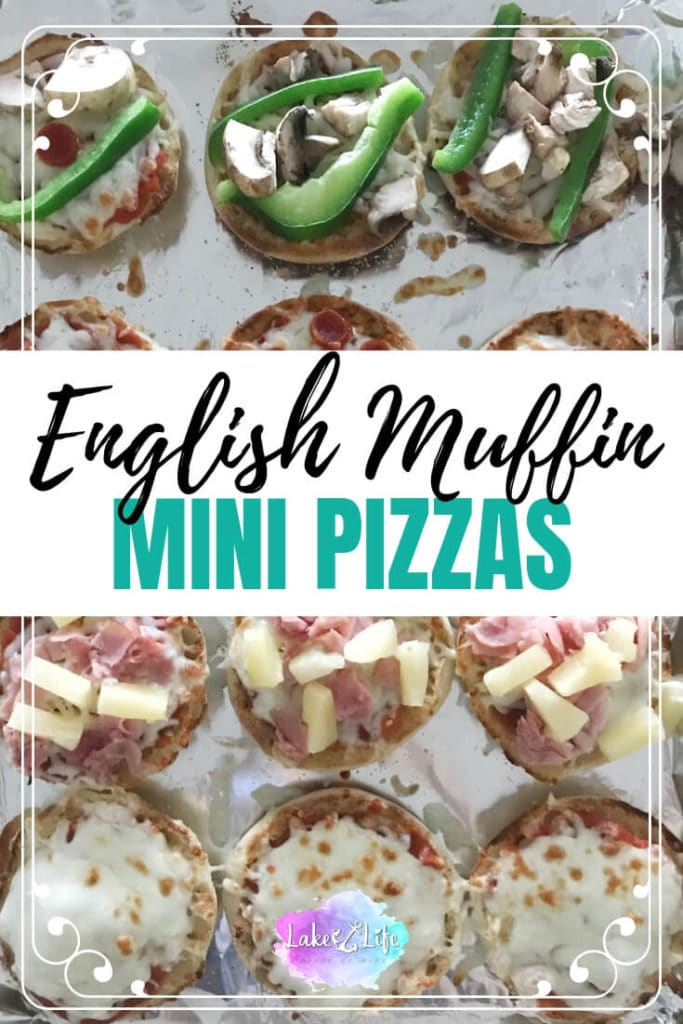 Looking for an easy dinner option that everyone in your family will go crazy for? Look no further than these English Muffin Pizzas that can be prepared and on the dinner table in less than 10 minutes. Dad likes pepperoni pizza. Mom likes the Hawaiian variety with ham and pineapple. The kids are picky and will only eat cheese pizza. No worries! These English Muffin Pizzas are customizable to meet everyone's pizza needs. #easyrecipes #weeknightdinner #cookingwithkids #pizza #lakelifestateofmind