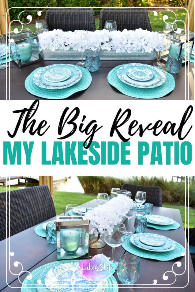 Come visit me at the lake today and see Our Lakeside Patio Reveal that has been months in the making. Get inspiration for your own backyard with these outdoor patio decorating ideas just in time for the warmer weather. Your backyard or patio is just waiting to be redecorated for the warmer weather. Let me help you get started with these coastal-inspired decor ideas. #patio #lakehousedecor #lakehouse #coastalliving #coastaldecor #outdoorspace #lakelifestateofmind