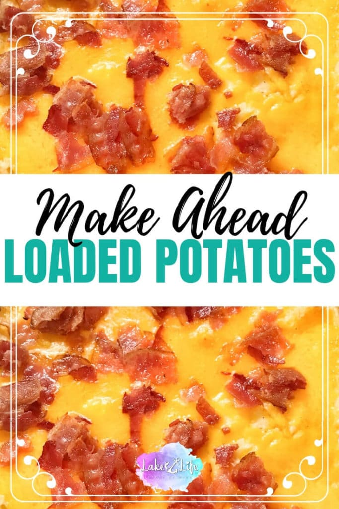 Make Ahead Twice-Baked Potato Casserole has all the ingredients of a loaded baked potato with the added convenience of being able to be prepared a day early. It's the absolute perfect side dish to make for Thanksgiving, Christmas, Easter or just your regular ol' gathering. Your guests will be begging for the recipe after one single bite of this gooey cheese, bacon and potato masterpiece! #easysidedish #makeaheadrecipe #potatocasserole #cheesypotatoes #holidaysidedish #lakelifestateofmind