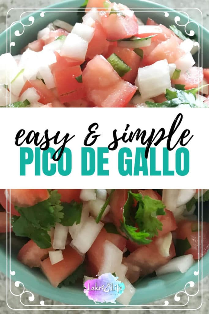 Looking for a healthy and fresh salad with a yummy Mexican flare?! Look no further than this Homemade Pico De Gallo packed with juicy tomatoes, spicy jalapenos, onions, cilantro, and a little bit of lime juice. This simple salad is the perfect addition to tacos, burrito bowls, or on top of fish. #picodegallo #freshsalad #healthyfood #lakelifestateofmind