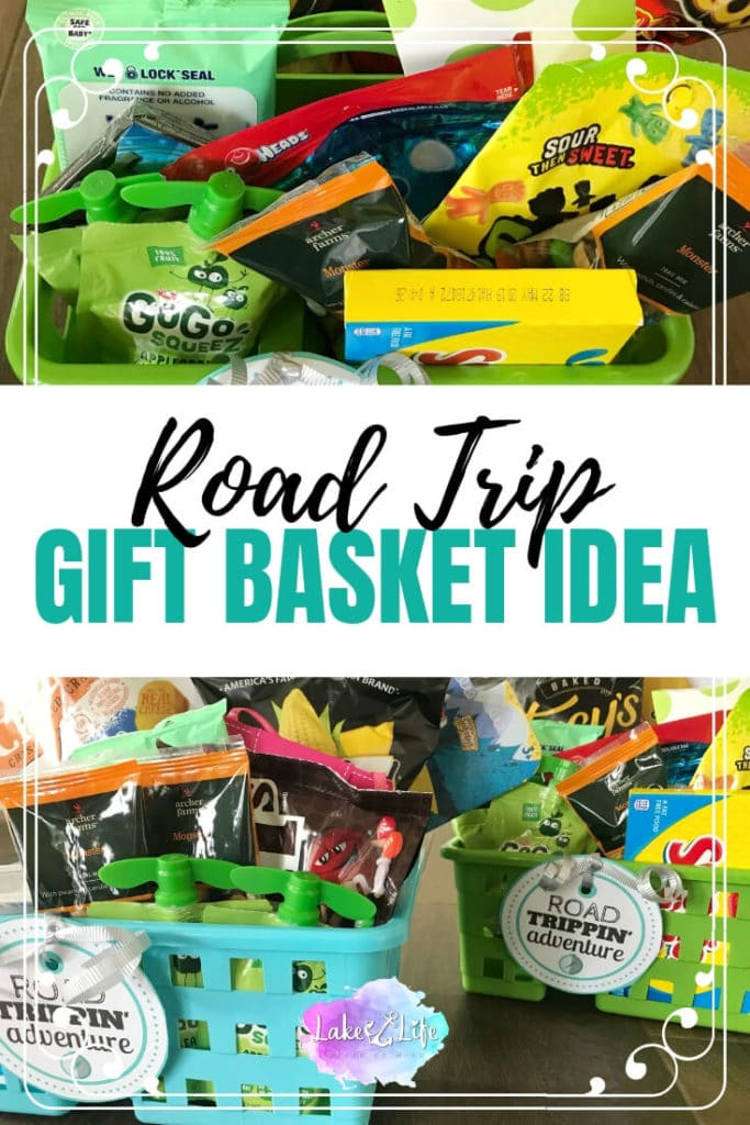 This road trip gift basket idea is made using Dollar store caddies and filled with easy road trip snacks perfect for adults and kids alike! Free printable labels are also included in this road trip care package. #roadtrip #roadtrippin #roadtripessentials #giftideas #giftbaskets #lakelifestateofmind