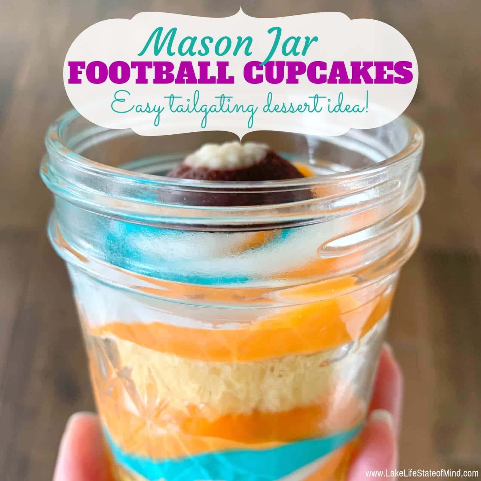 Easy Tri-Color Football Mason Jar Cupcakes