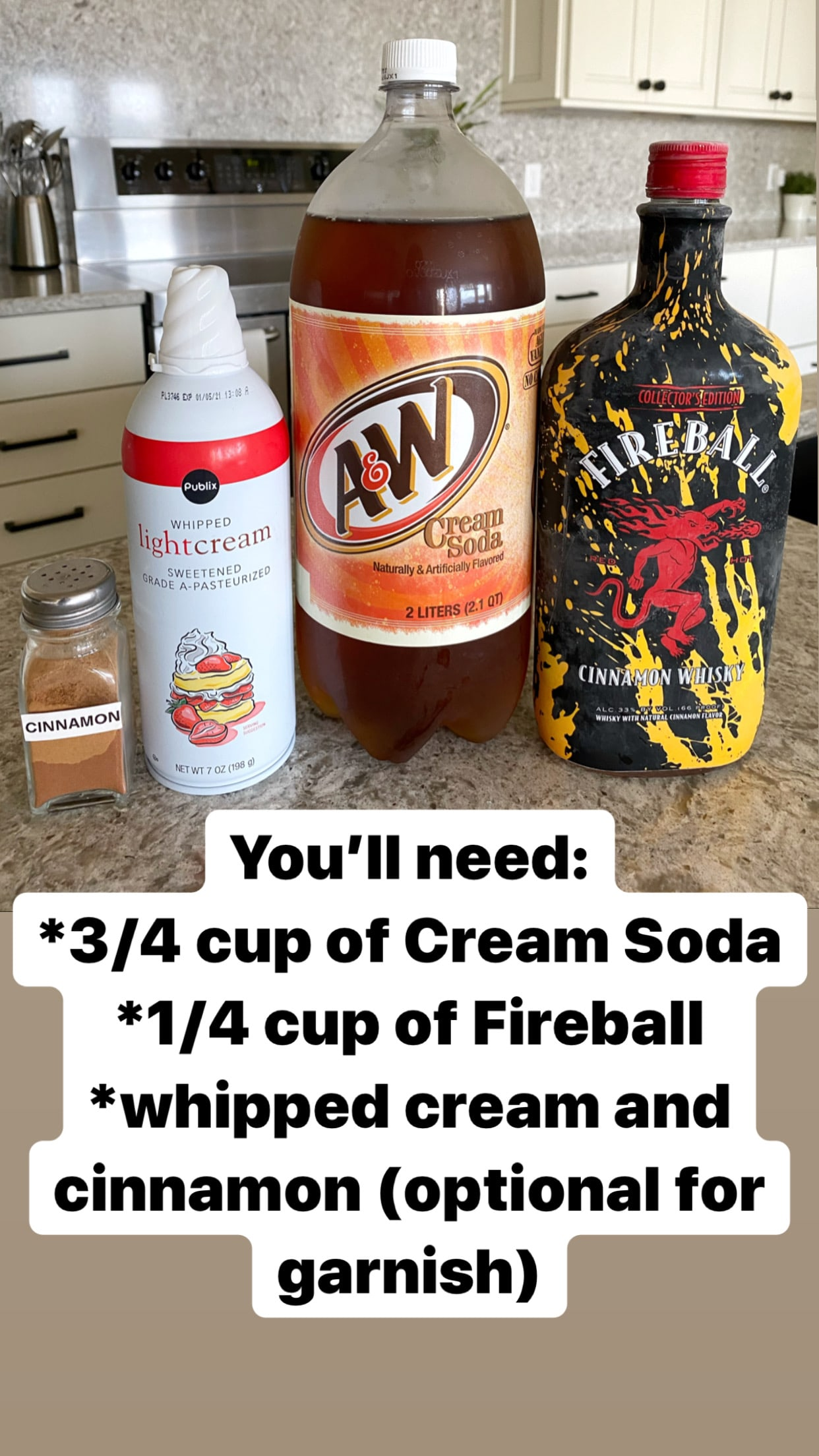 Ingredients for making cinnamon roll cocktail