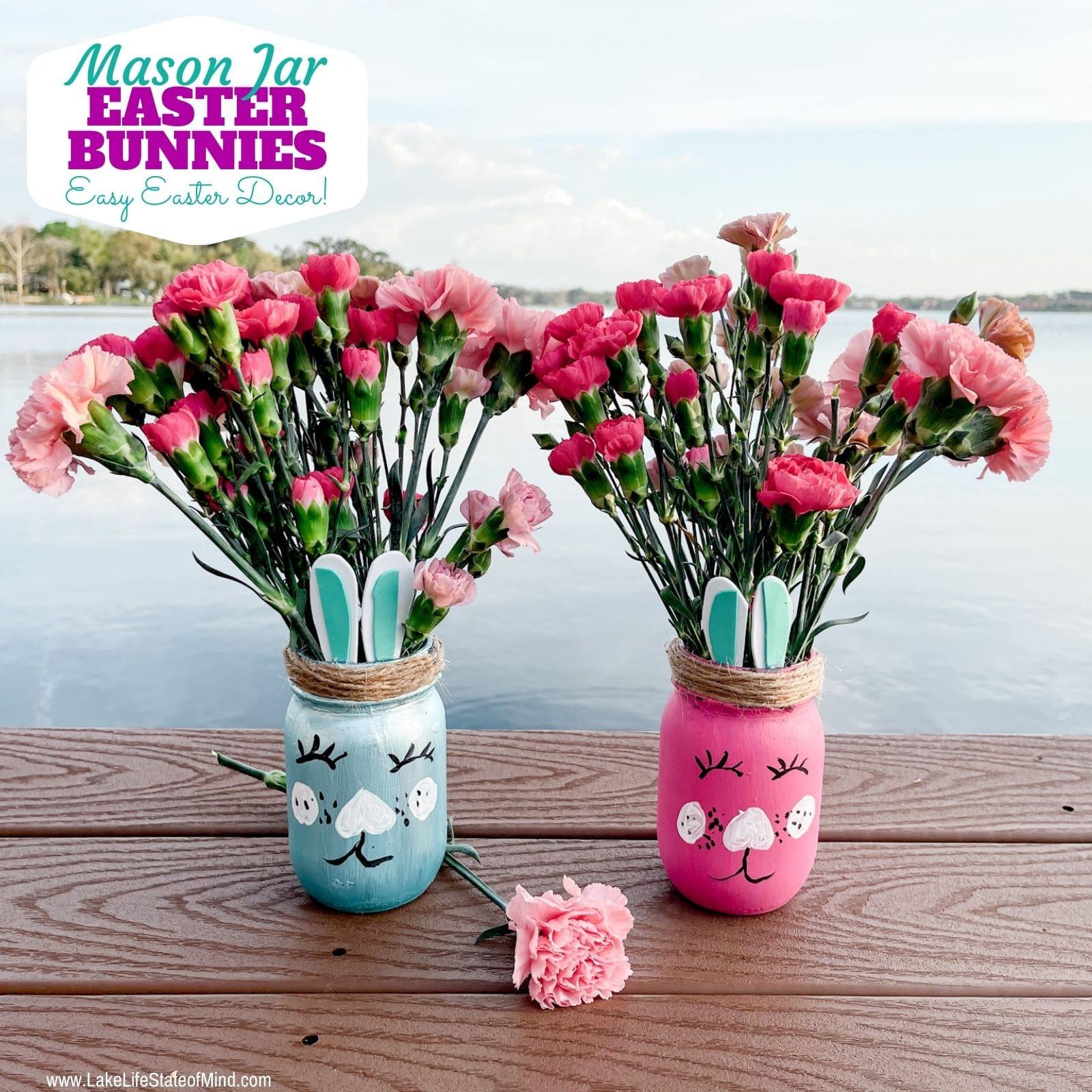 Easy Easter Bunny Mason Jars