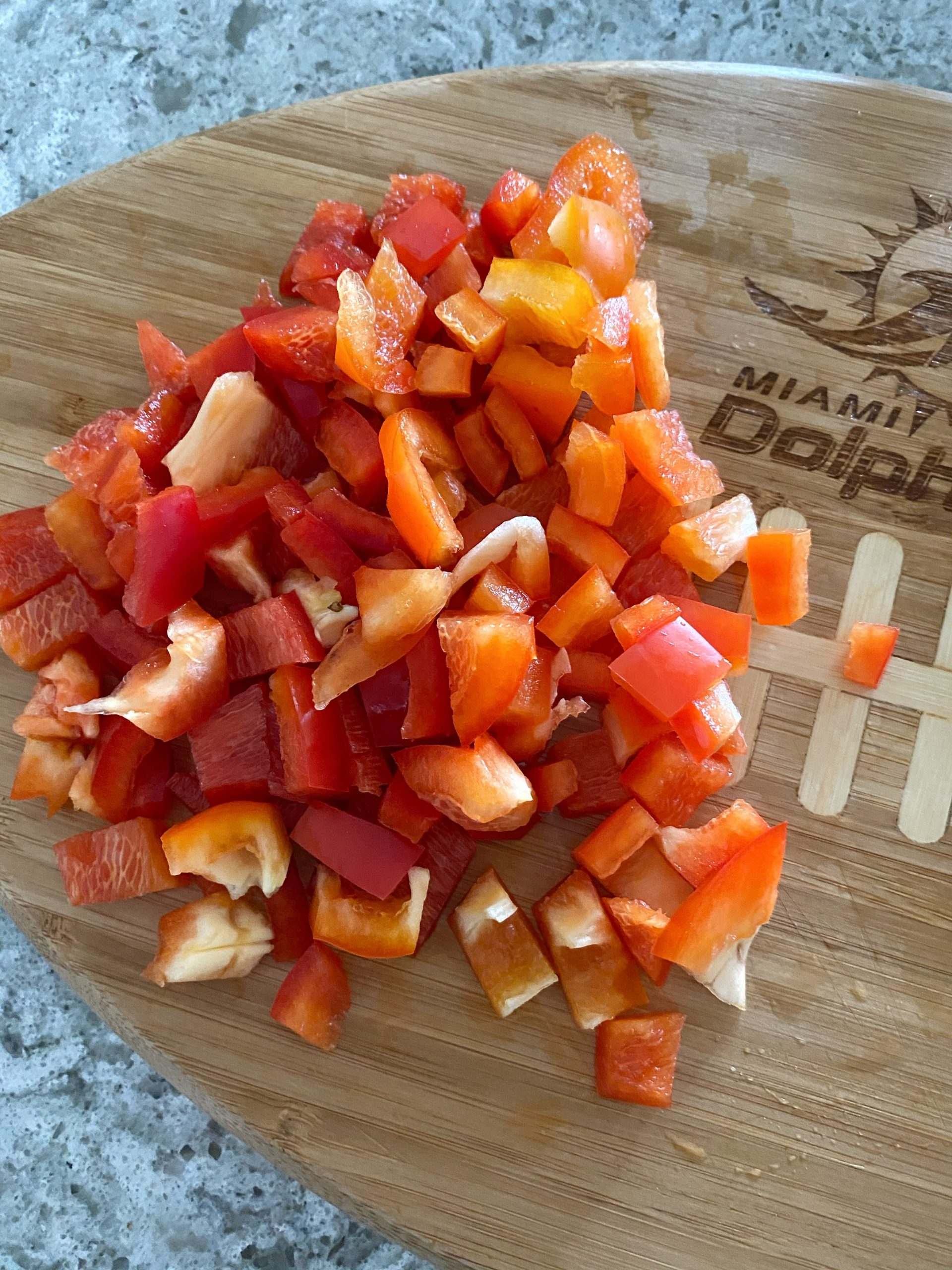 diced red bell pepper