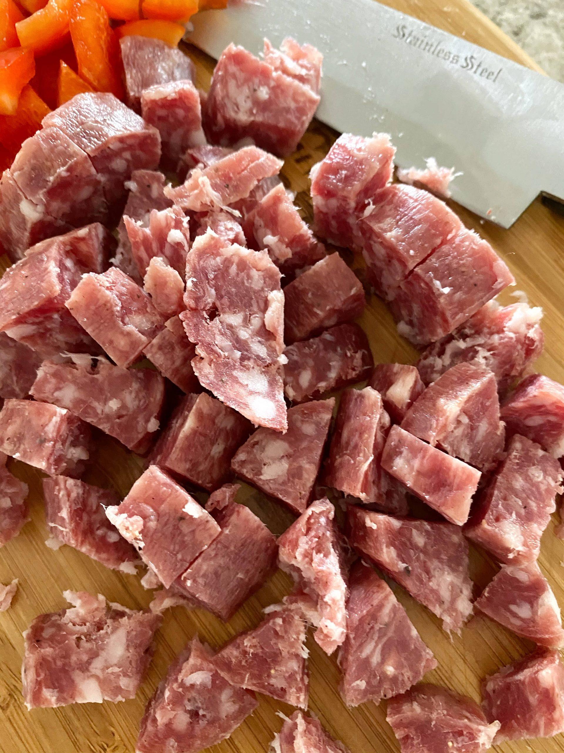 diced up salami