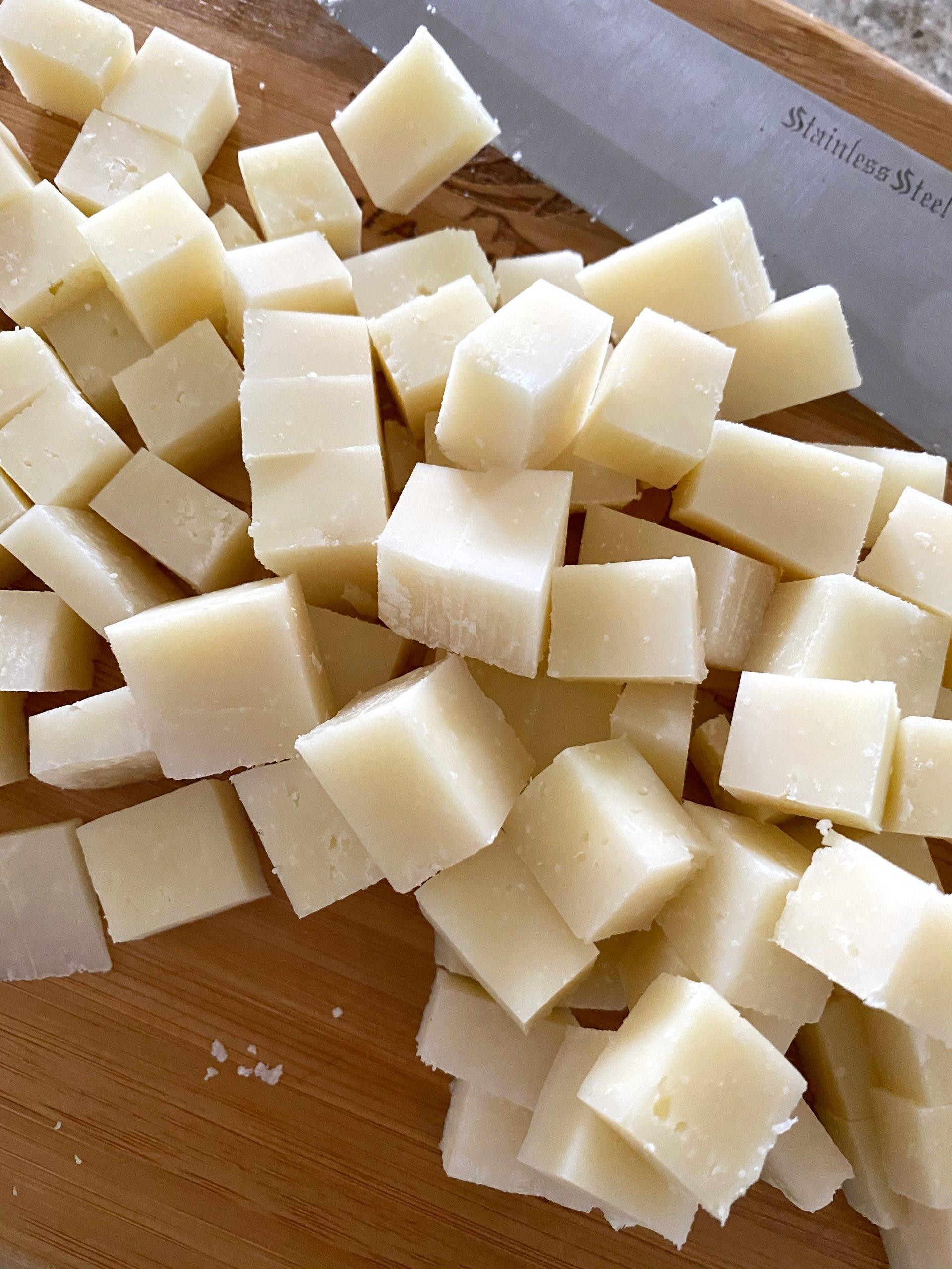 cubed pecorino Romano cheese