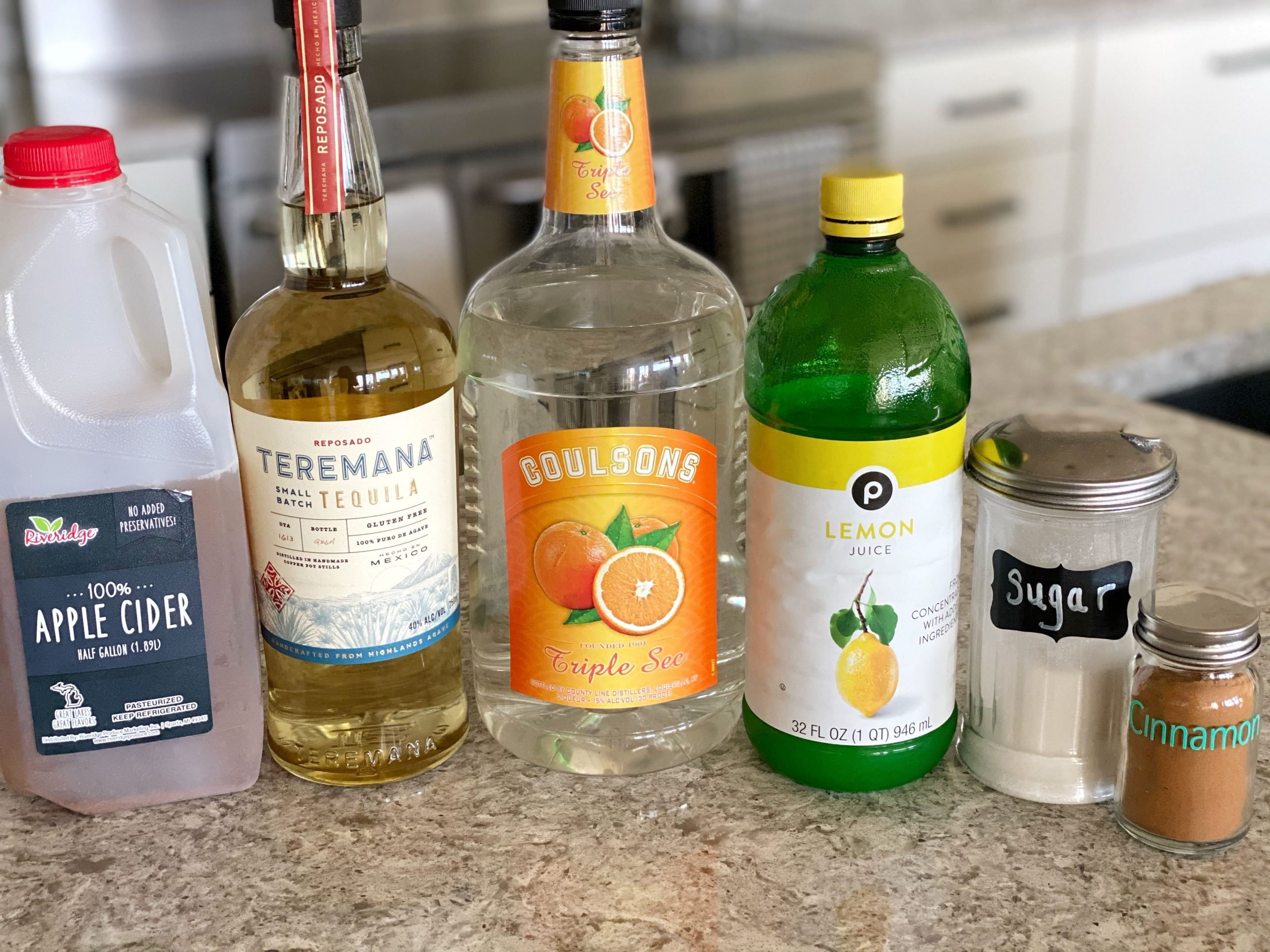 ingredients for apple cider margarita