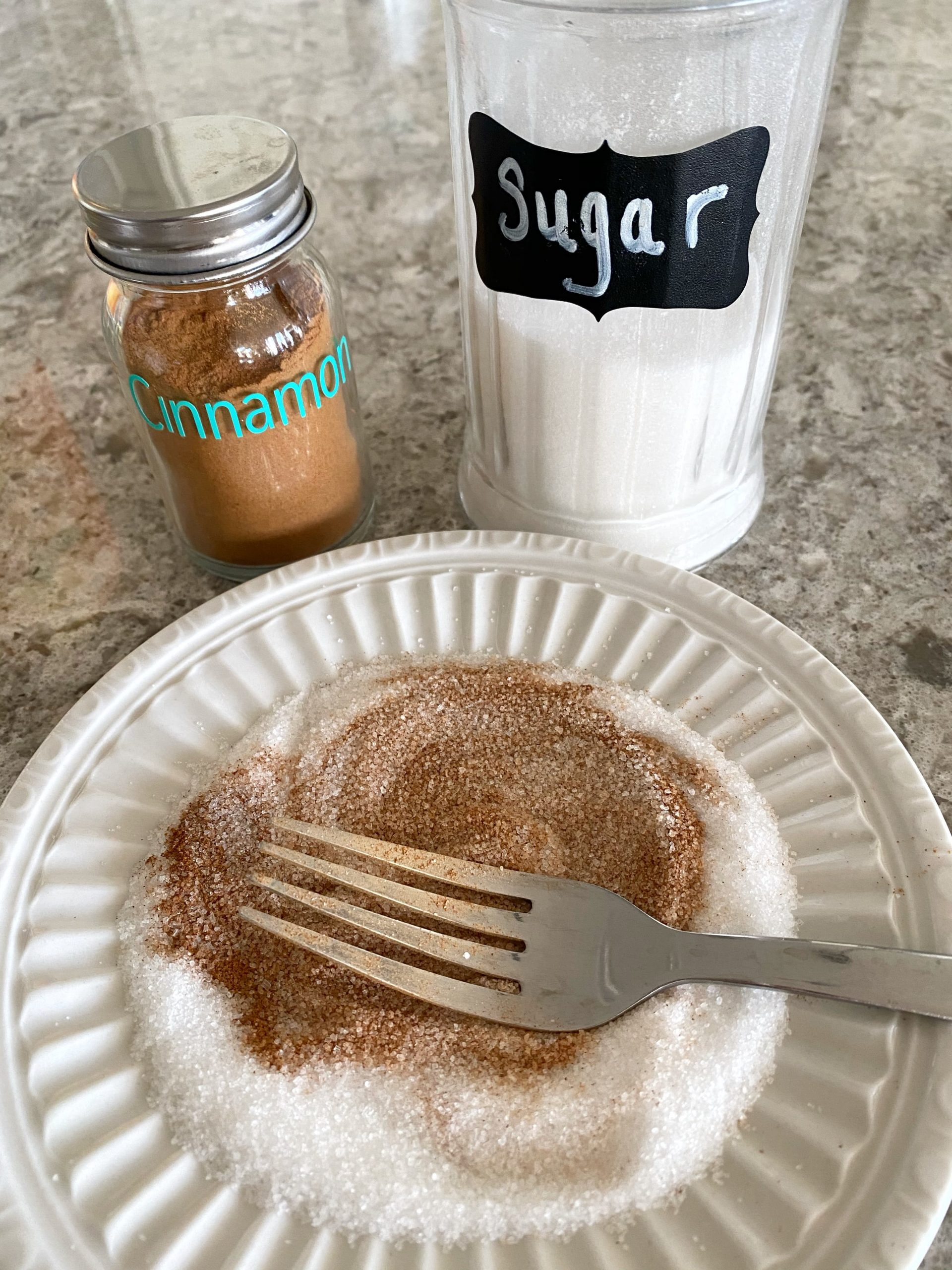 cinnamon and sugar on a plate