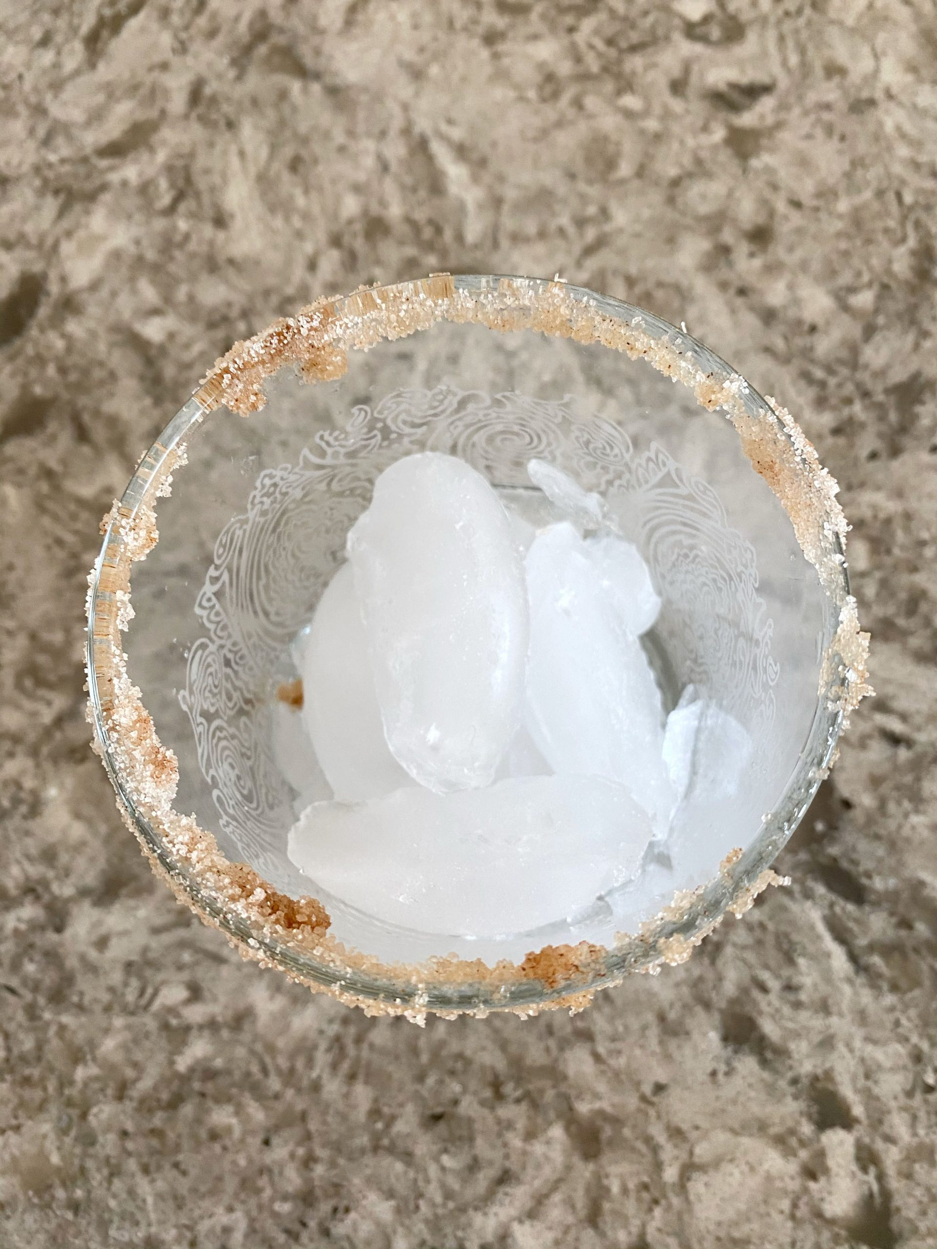 cocktail glass filled with ice