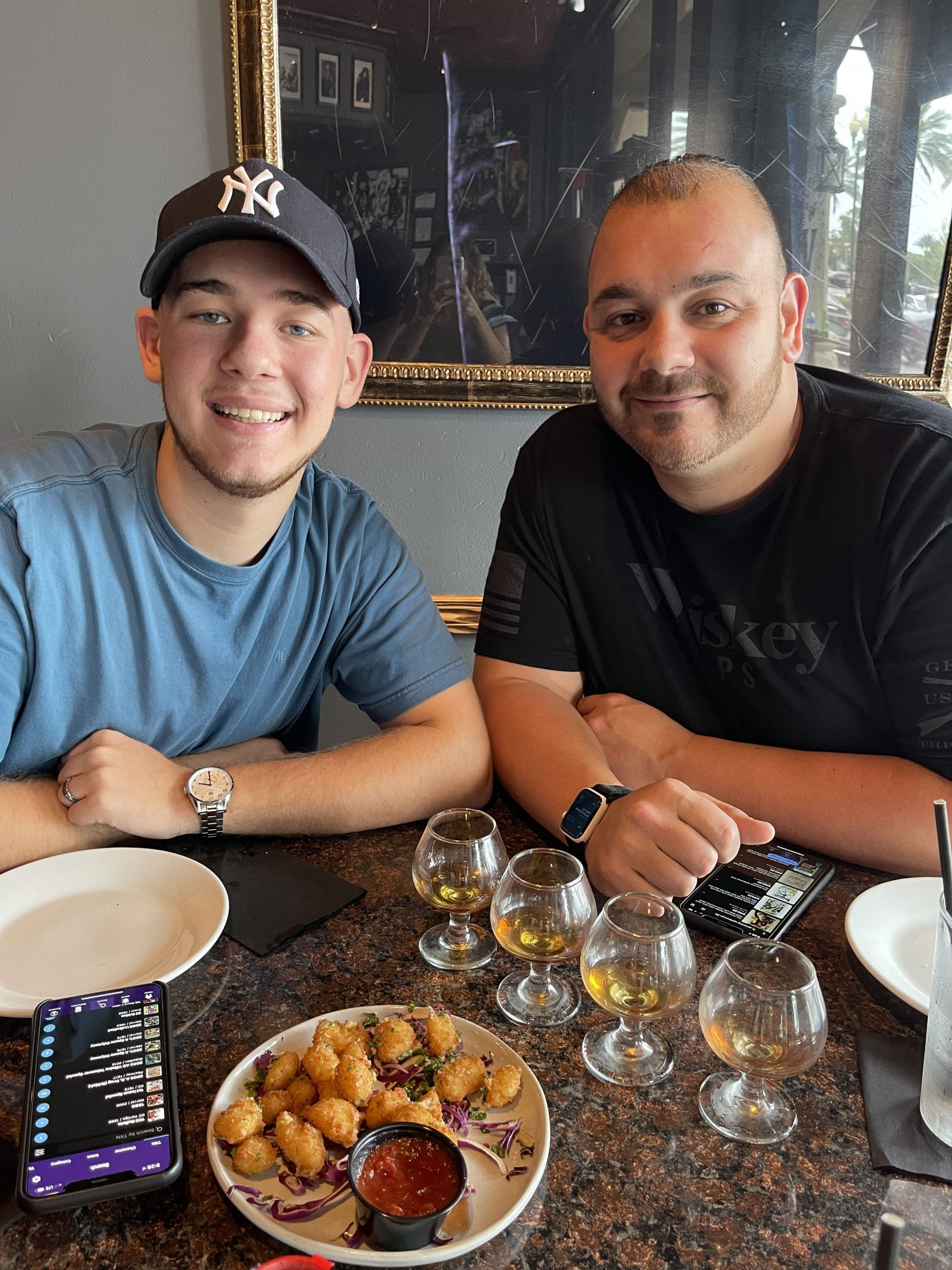 father and son at restaurant