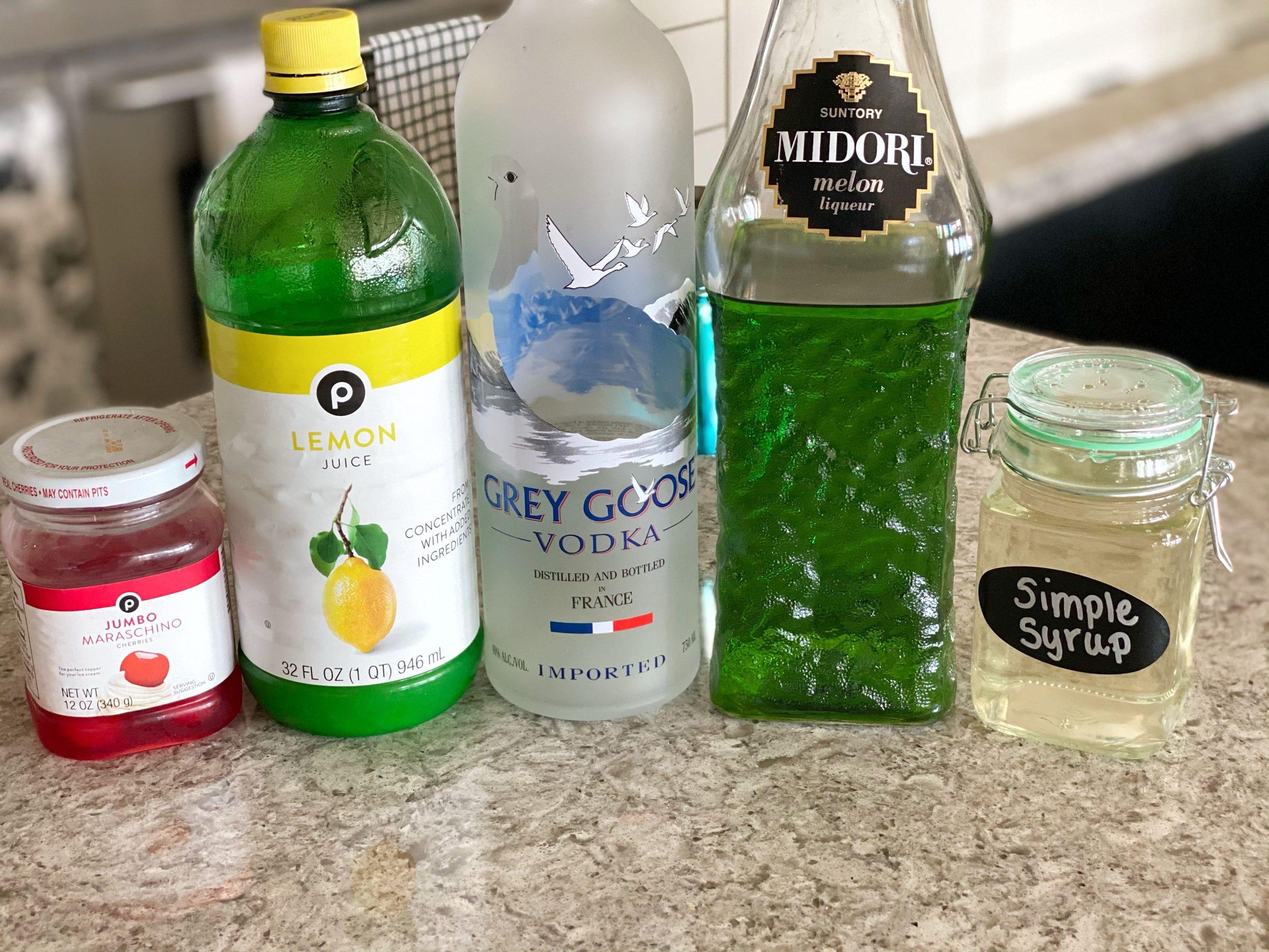 ingredients for Midori Martini