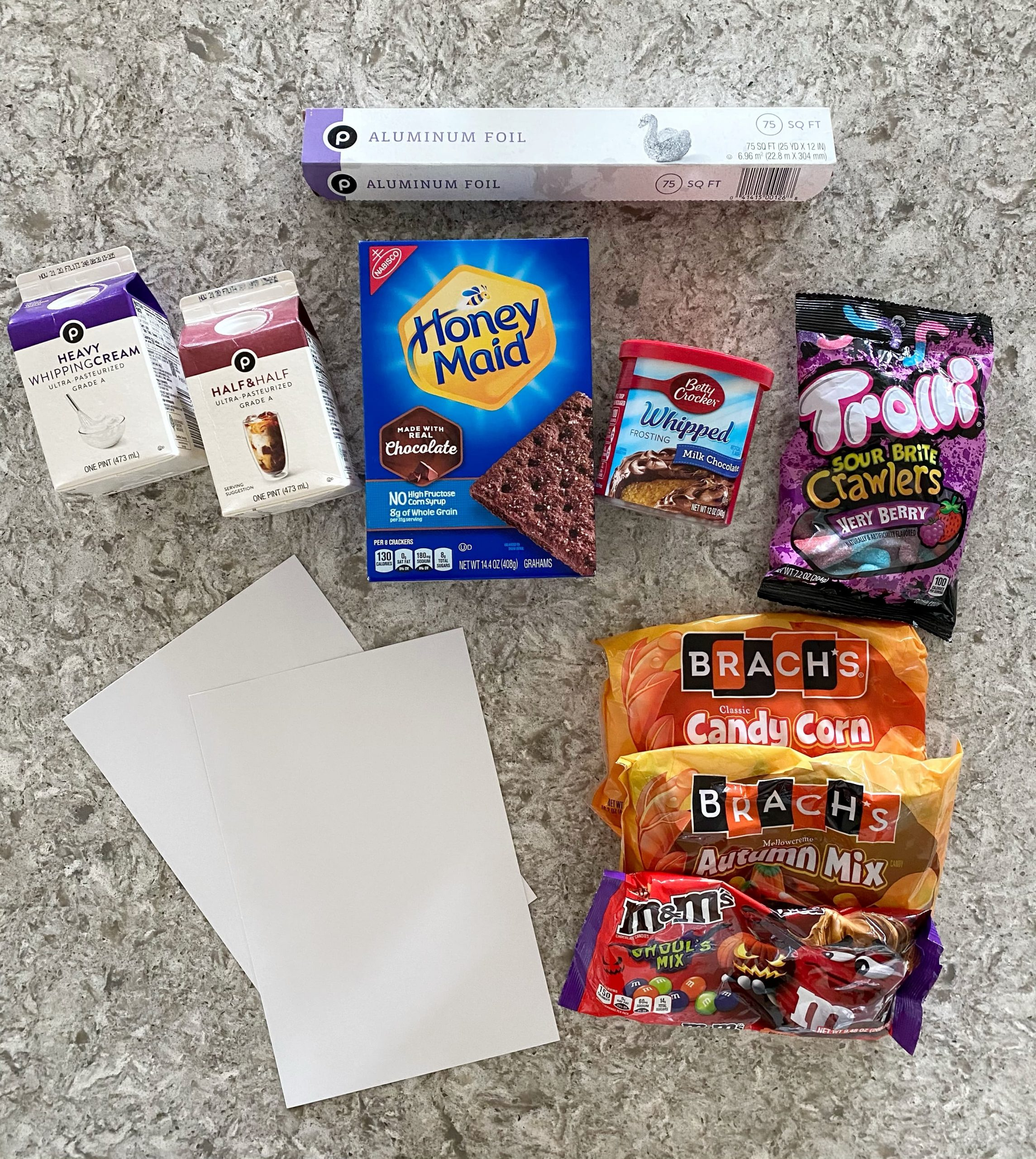 supplies to make DIY Halloween Gingerbread House