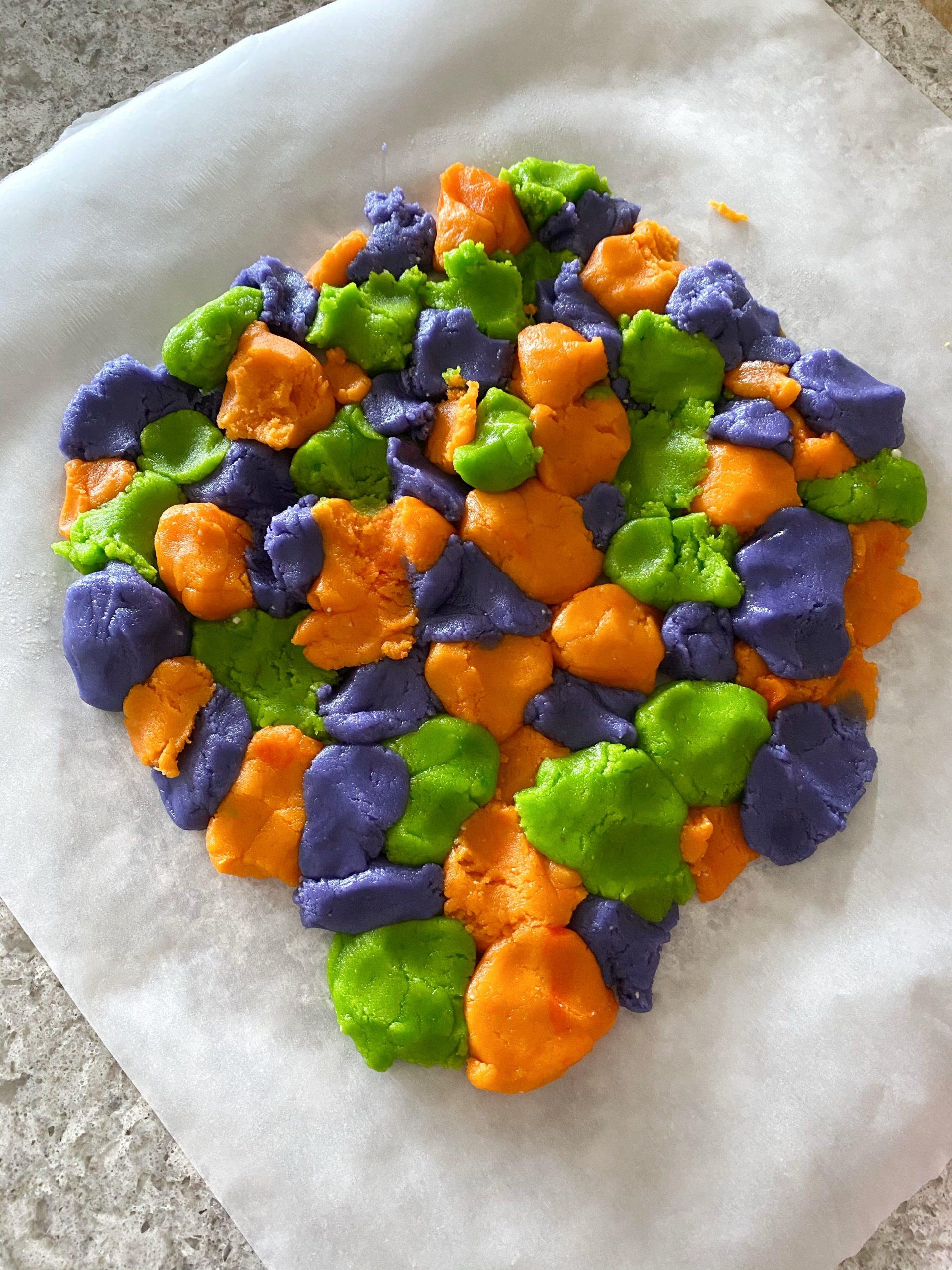 tie dye cookie dough pieces