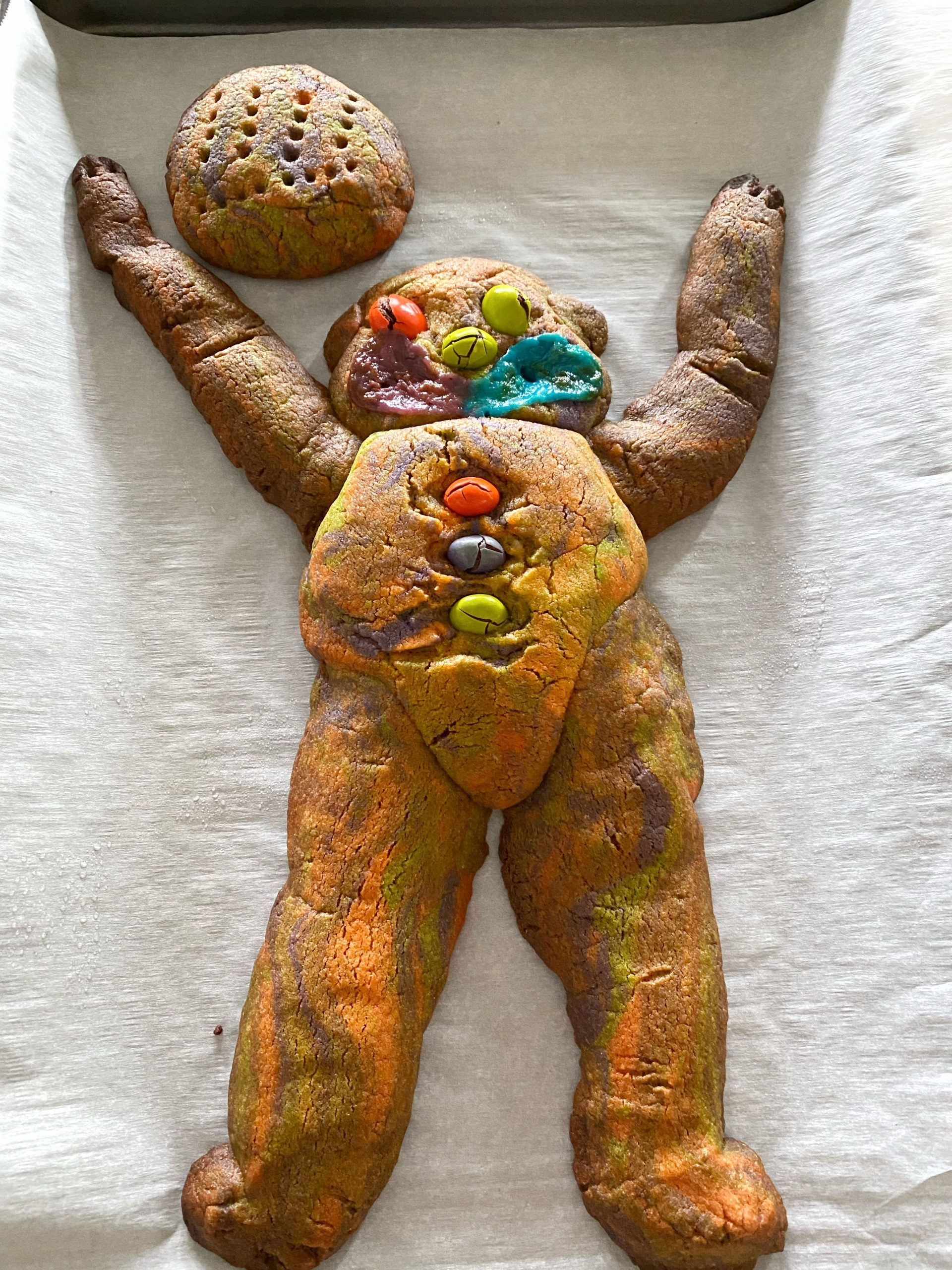 teddy bear tie dye cookie