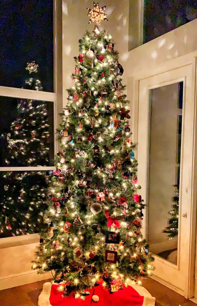 My Pinterest Unworthy Christmas Tree may look like nothing special at first glance, but the sentimental meaning behind it can be seen when you take a closer look. Come see why I'm okay with not having a picture perfect Christmas tree in our home. #christmastree #christmas #christmasdecor #lakelifestateofmind