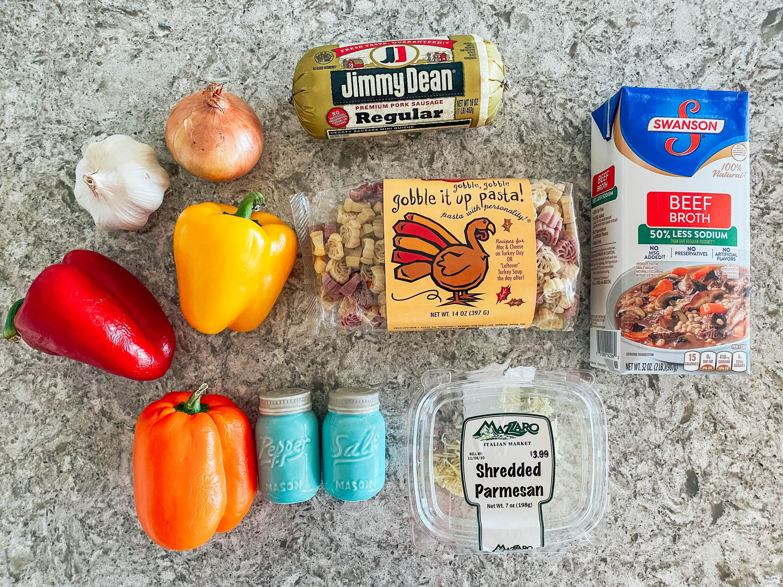 ingredients to make Turkey Shaped Pasta Salad with Sausage