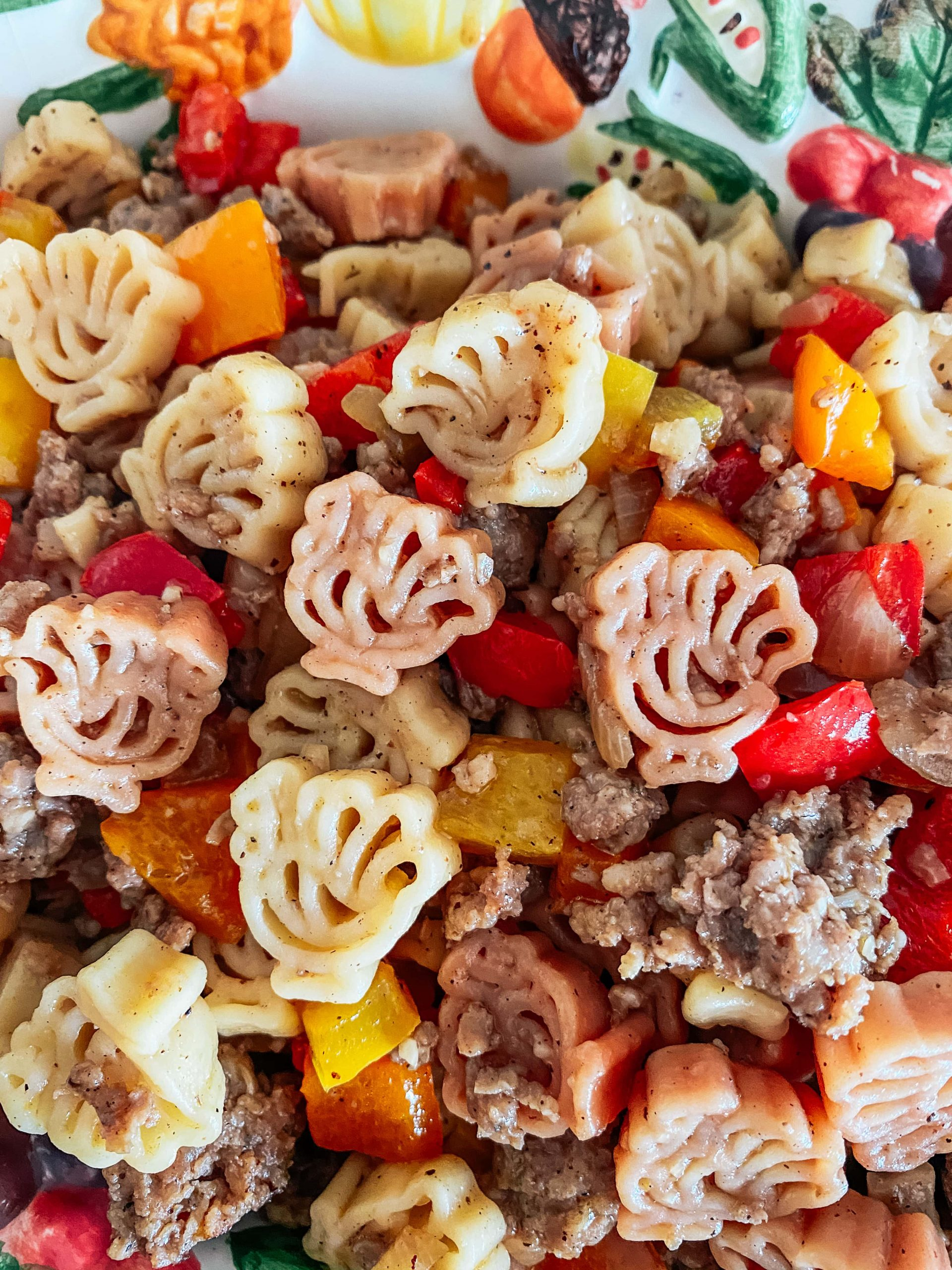 Turkey Shaped Pasta Salad with Sausage
