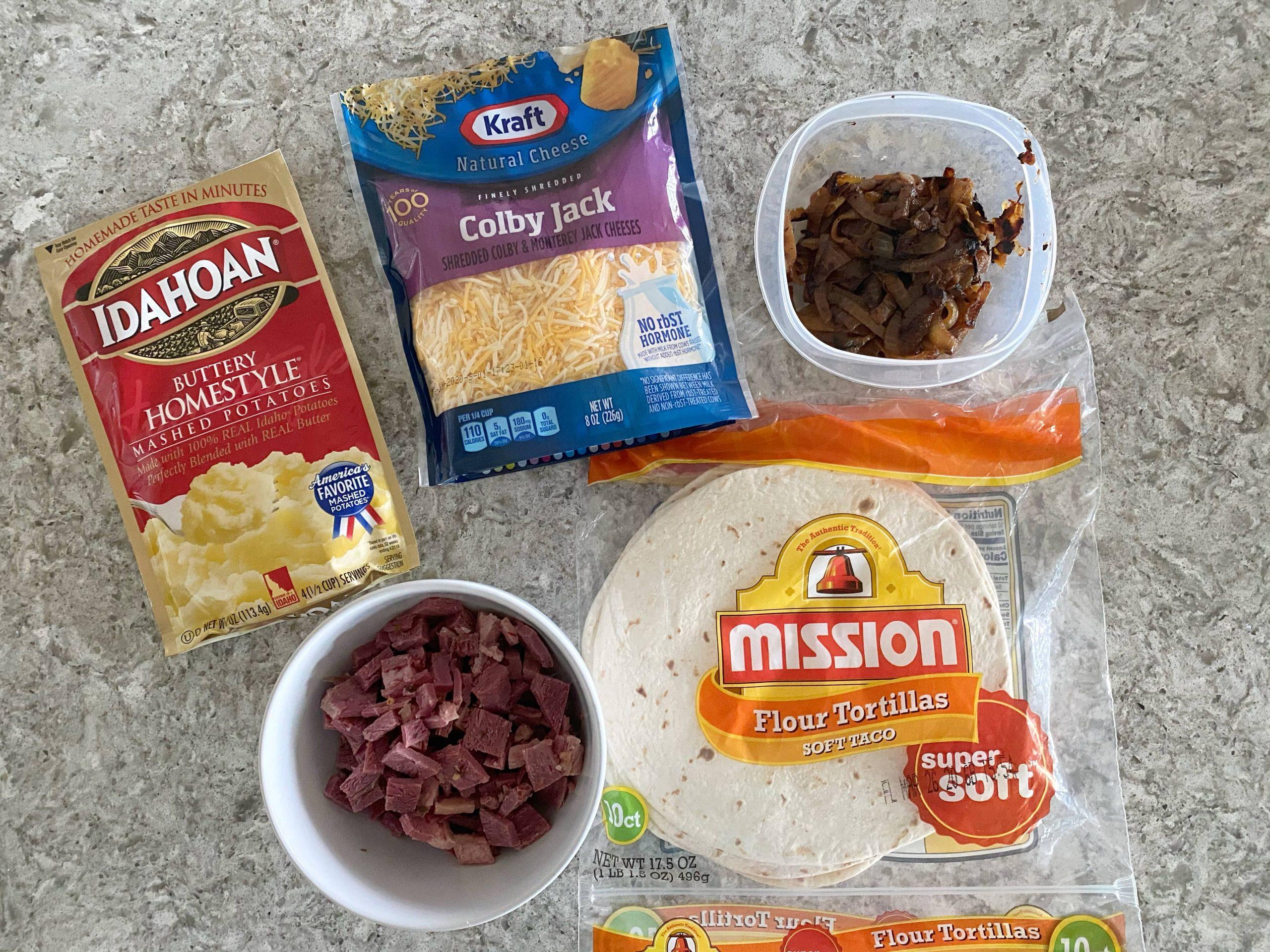 Ingredients for loaded Irish quesadillas