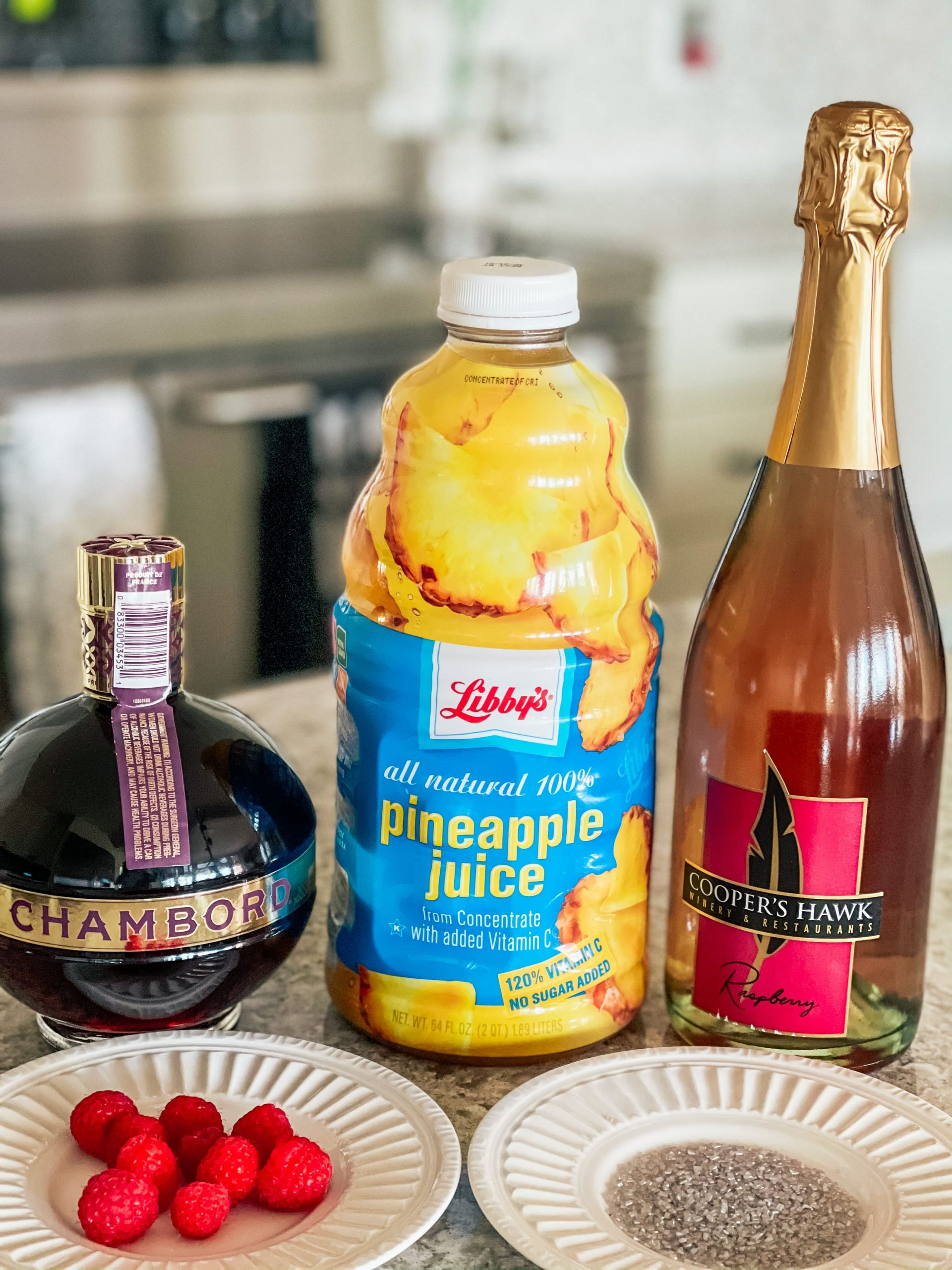 ingredients for Raspberry Champagne Cocktail