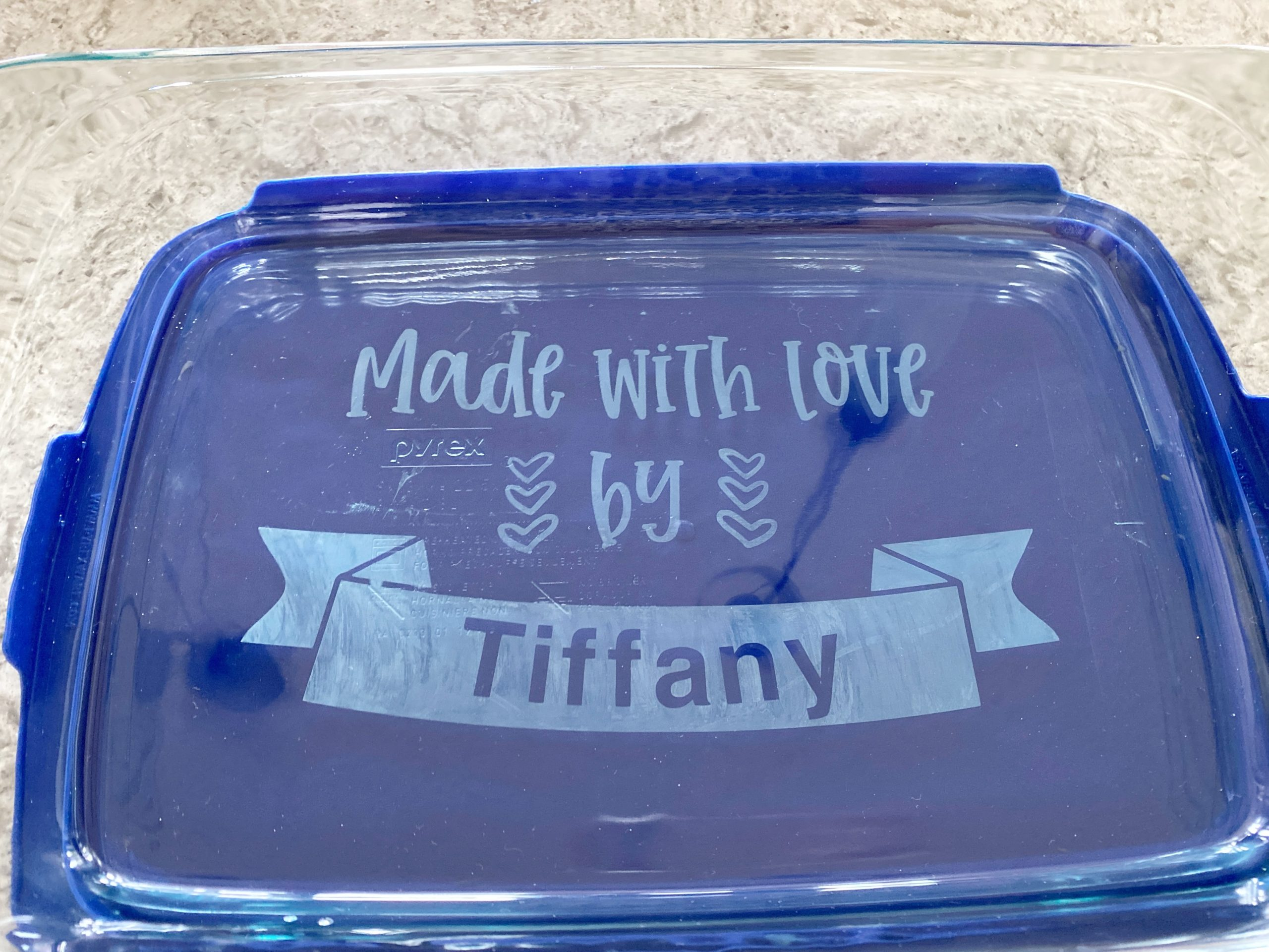 Etched casserole dish