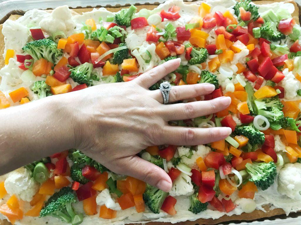 Cold Veggie Pizza | Crescent roll veggie pizza with cream cheese