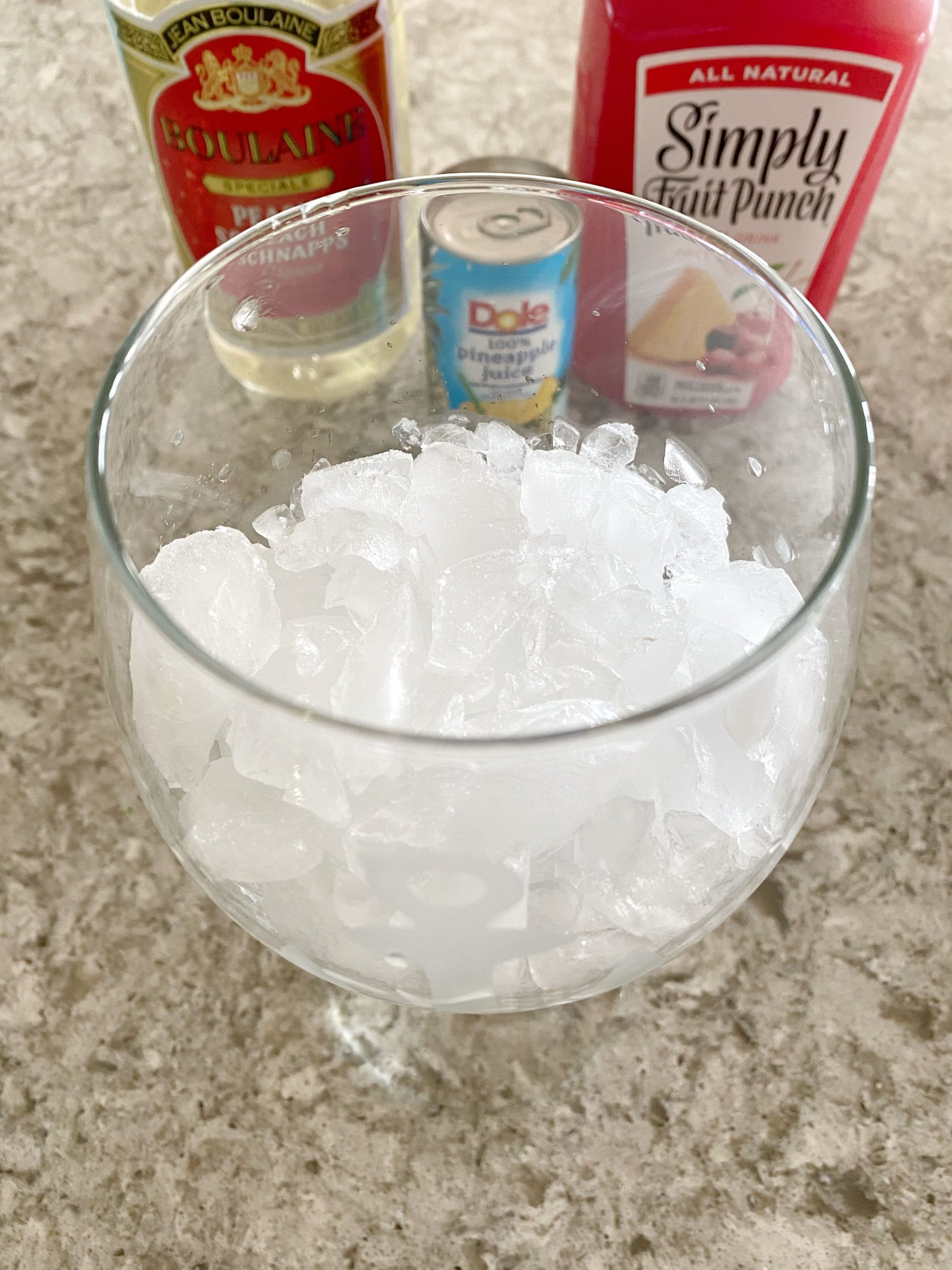 crushed ice in a cocktail glass