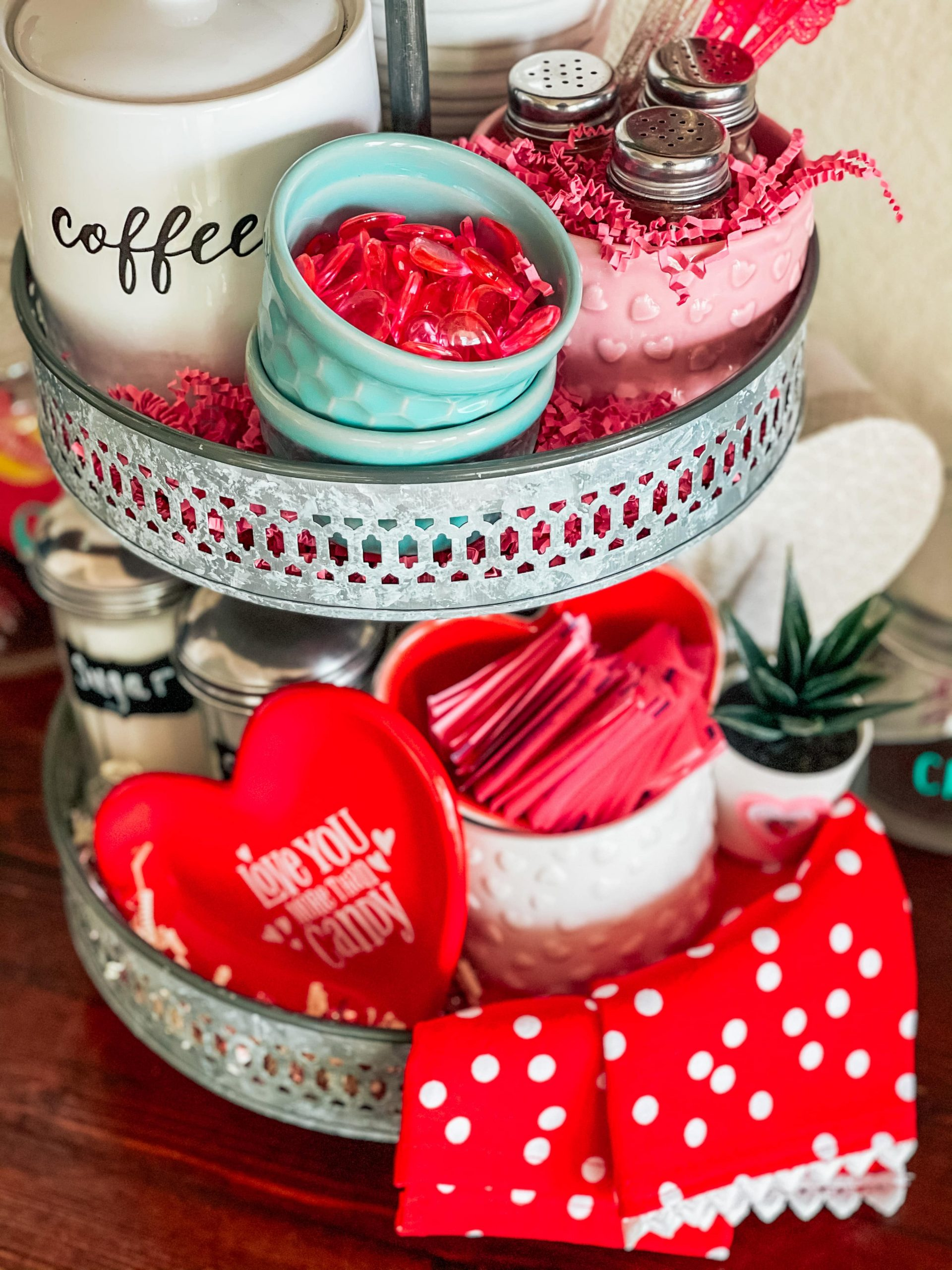 Valentine's Day Tiered Tray Decor