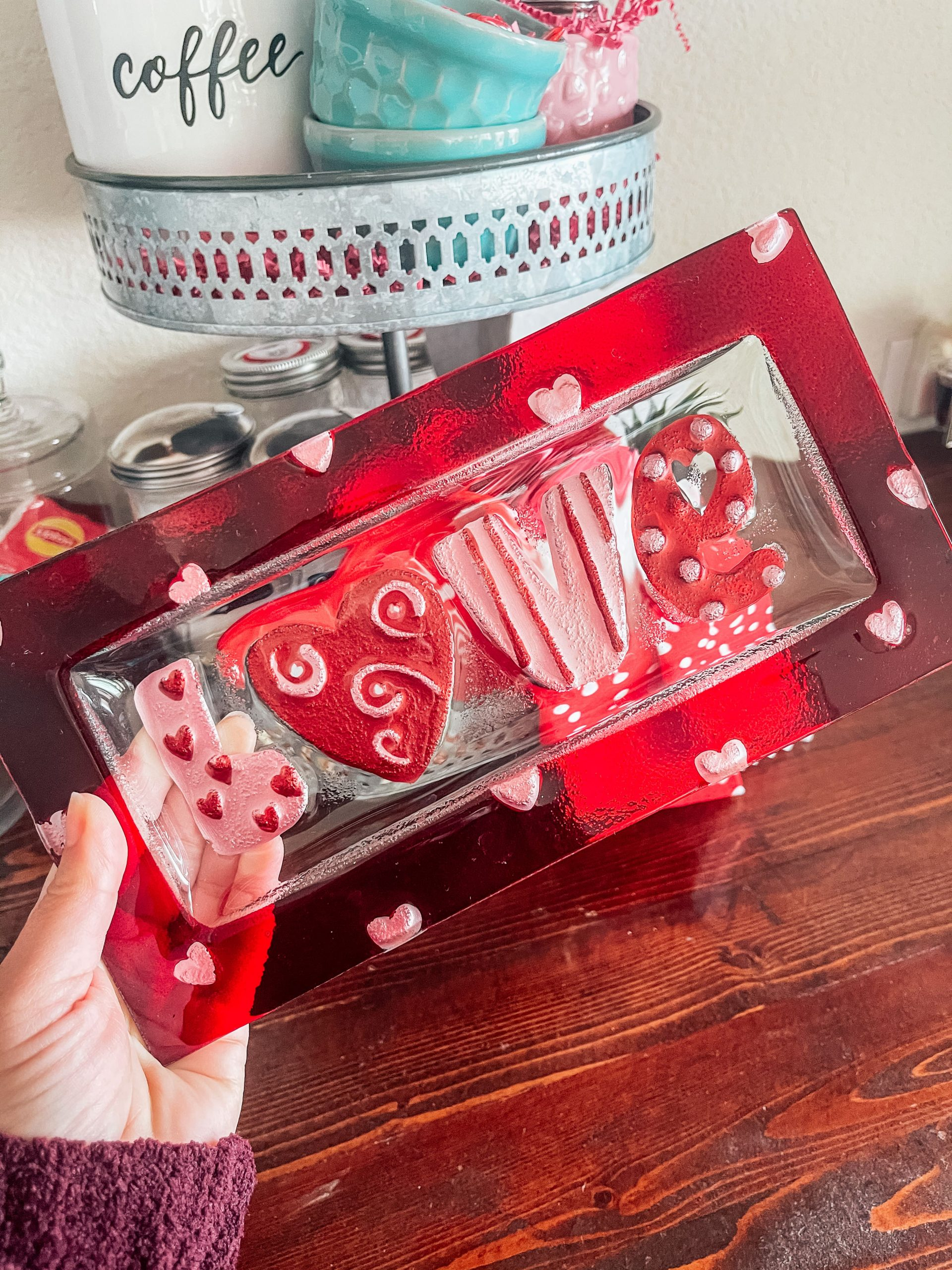 """Love"" glass tray"