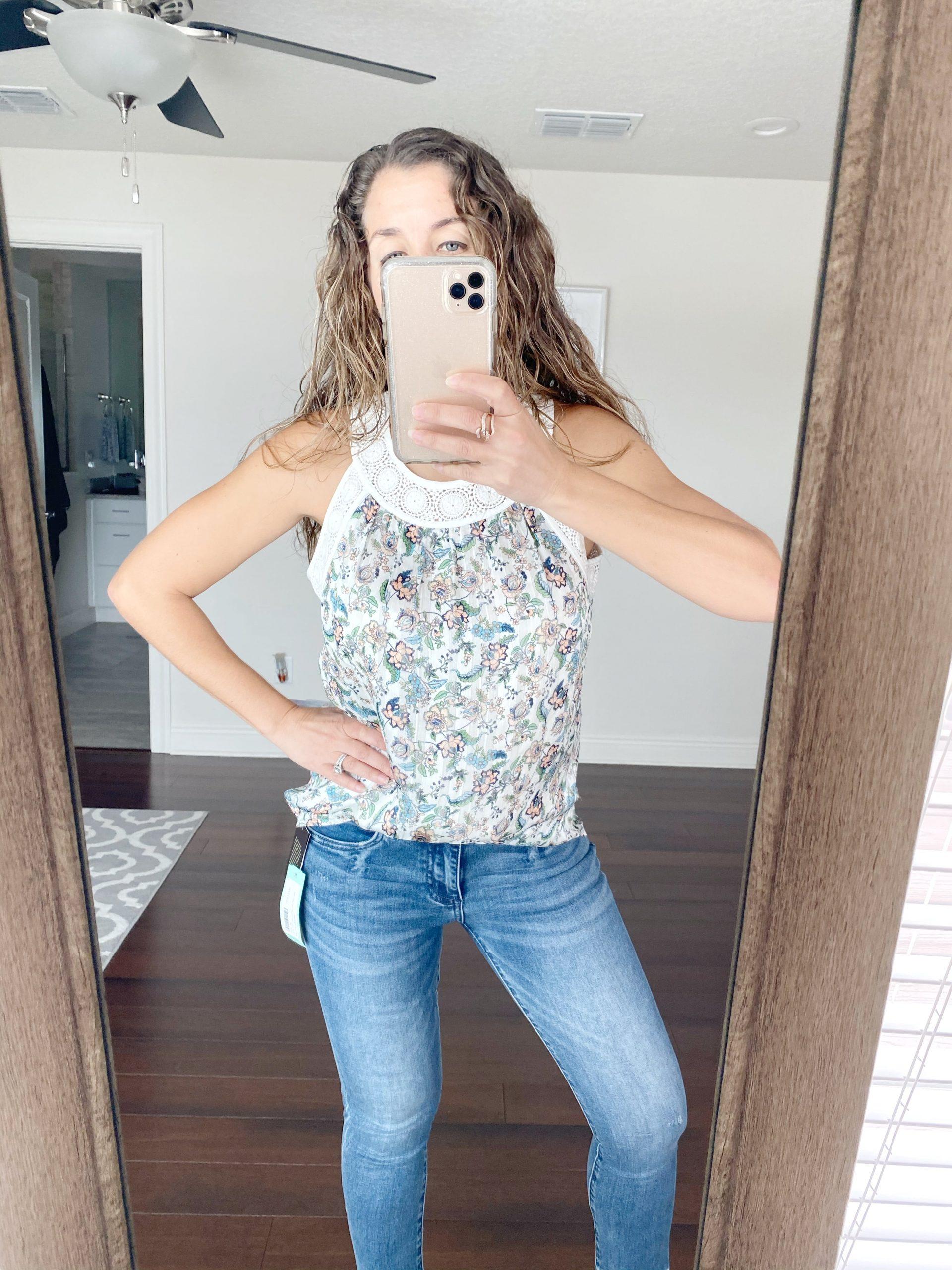 PALE SKY Sheri Crochet Lace Detail Top