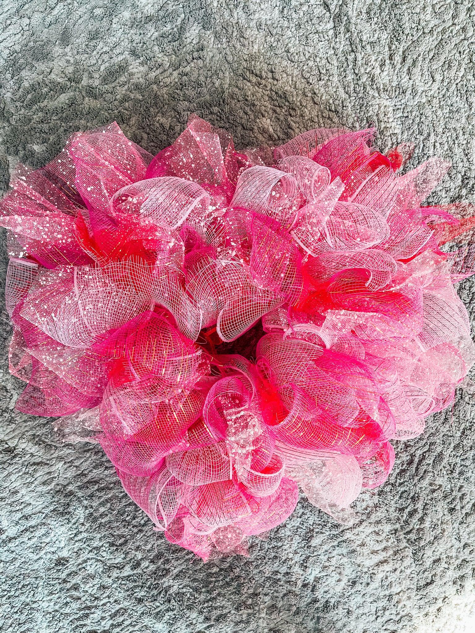 heart-shaped mesh wreath