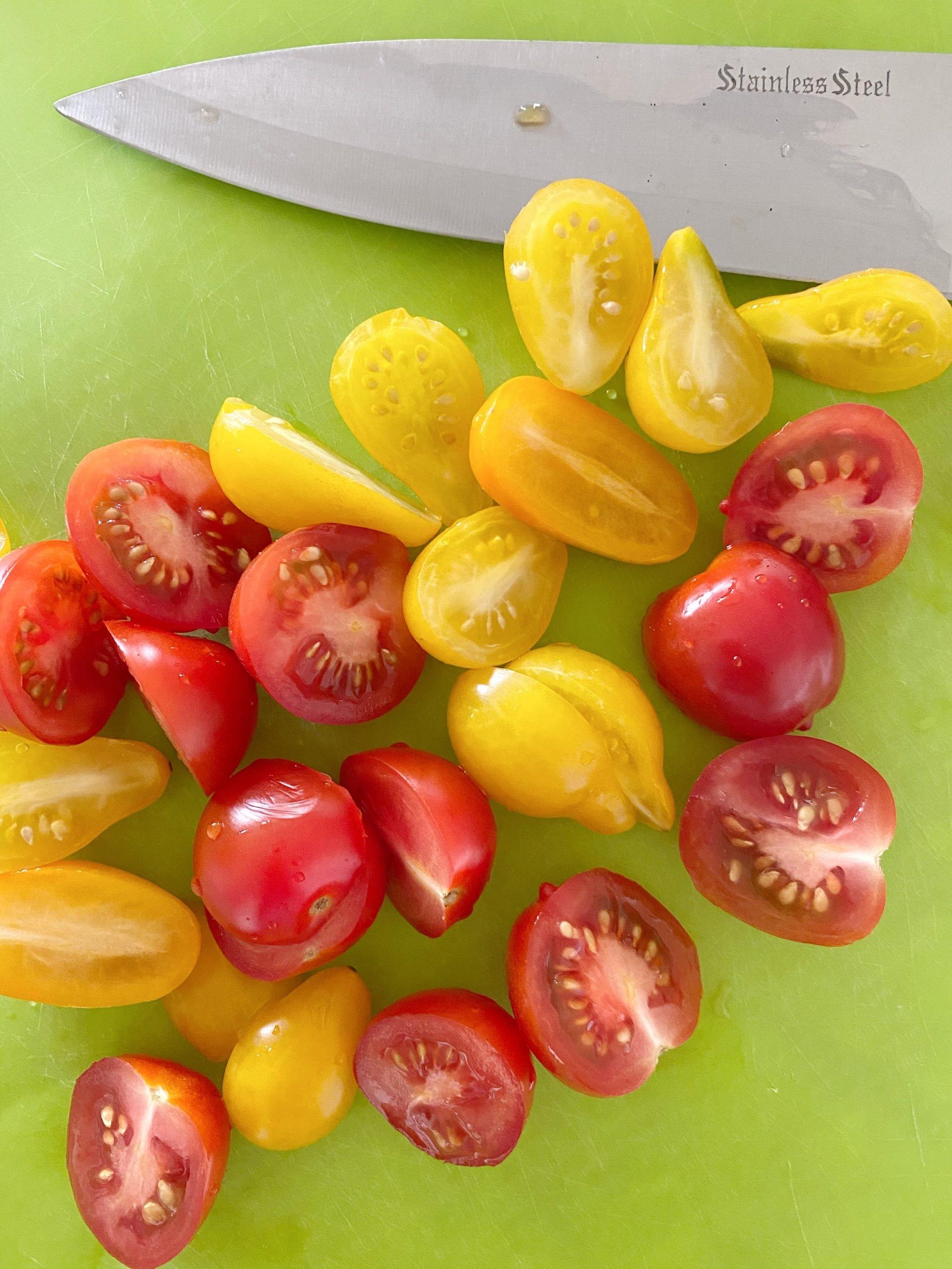 halving cherry tomatoes