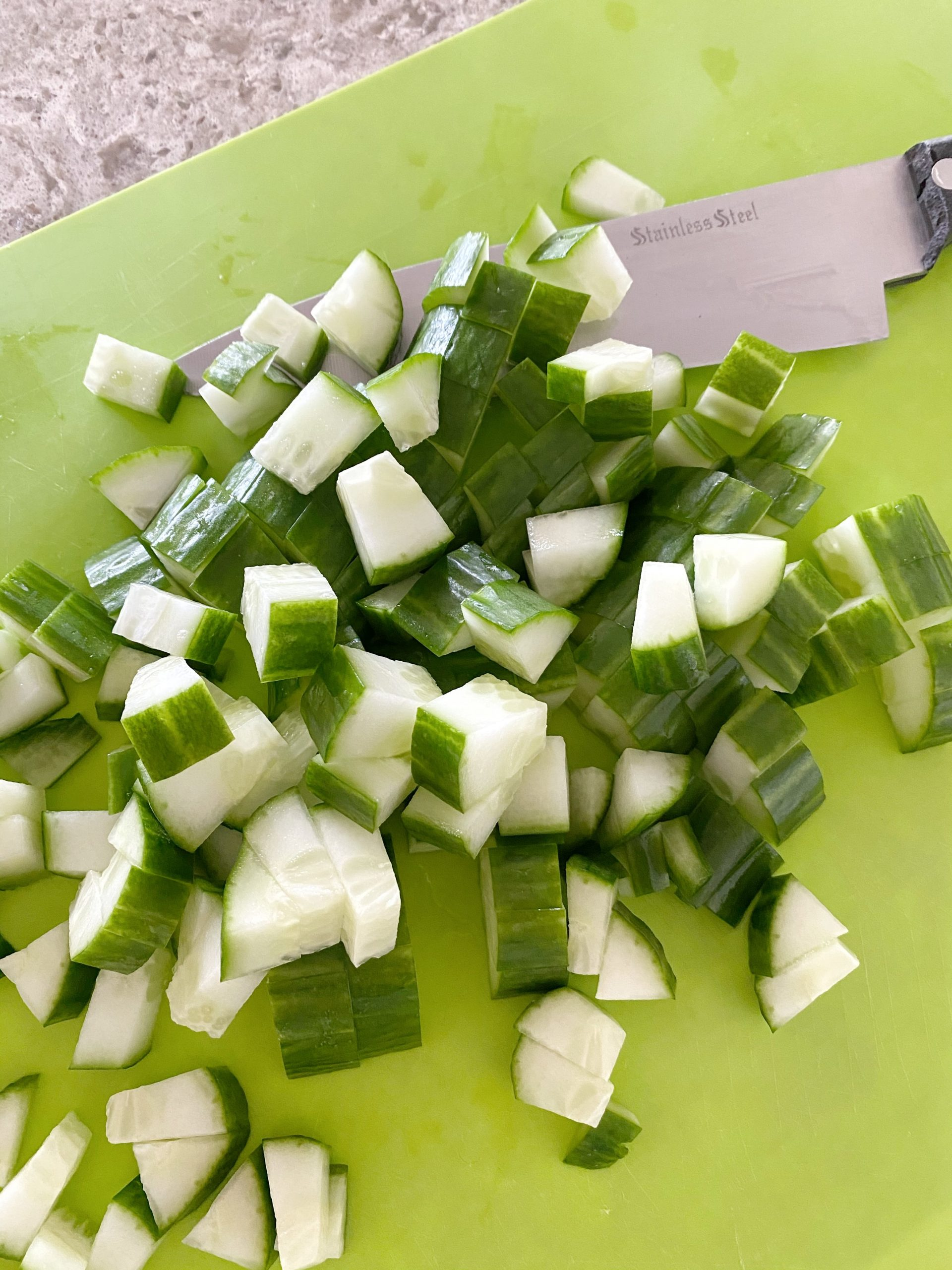 chop English cucumbers