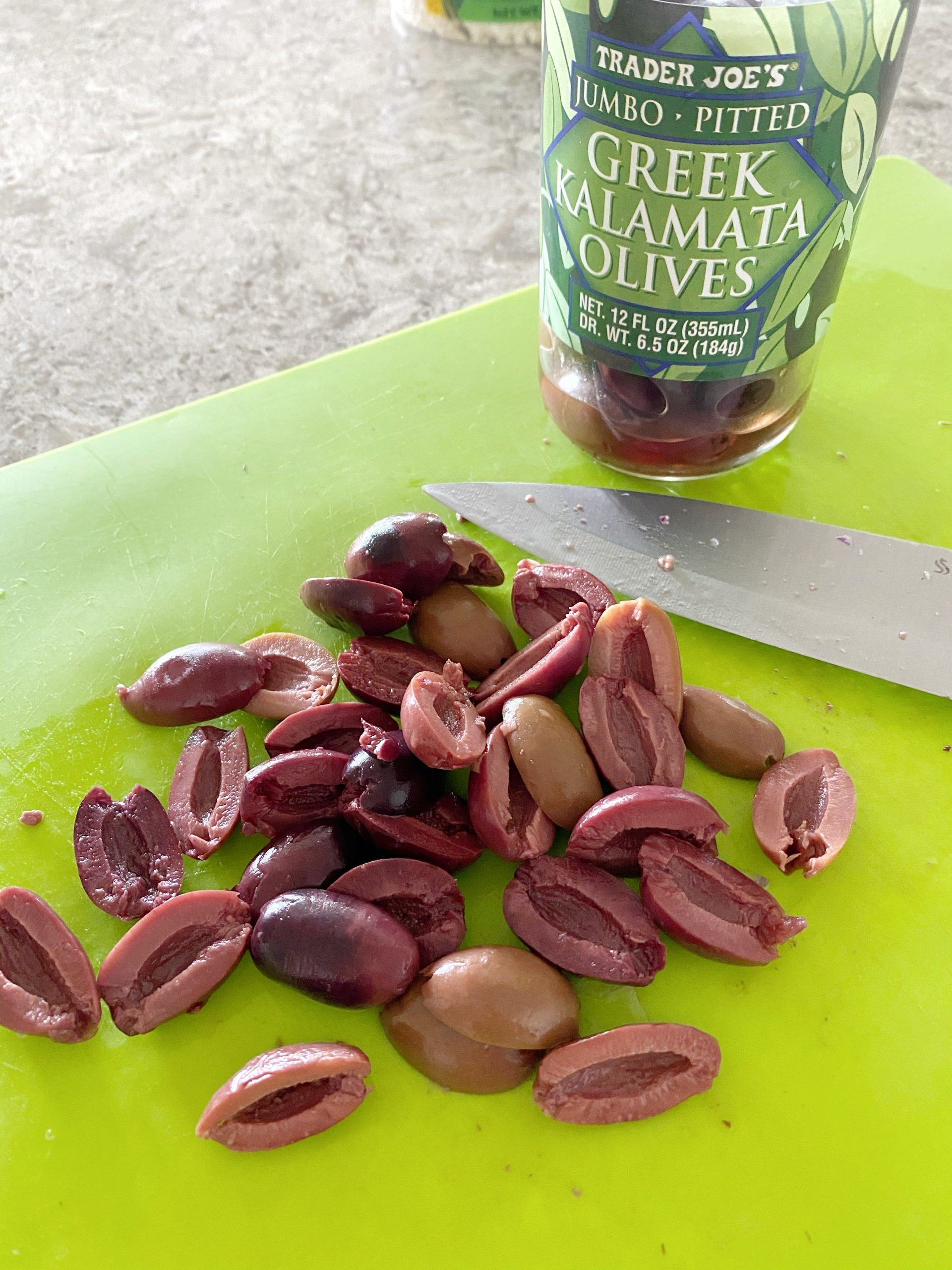 Slice your Kalamata olives