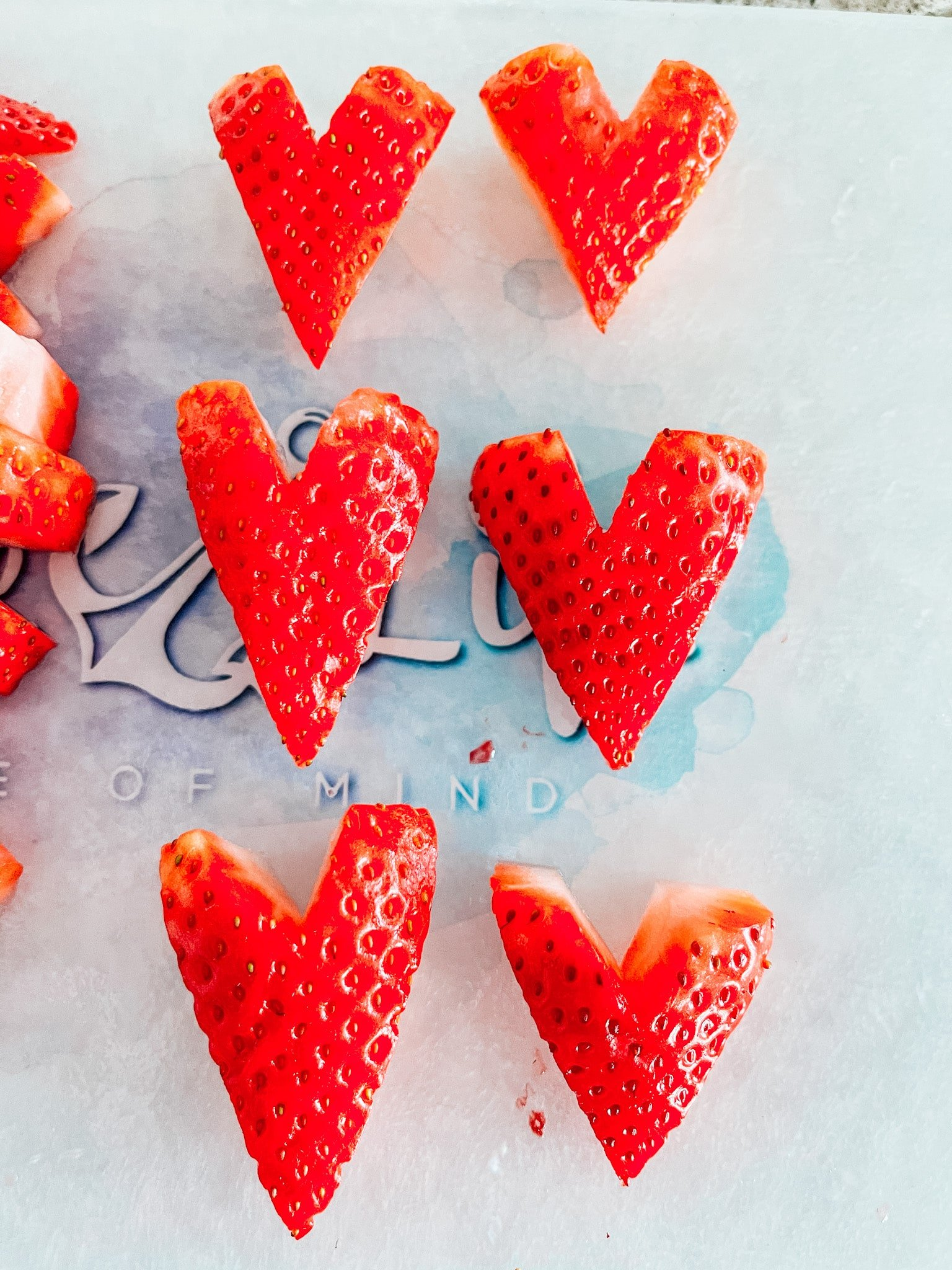 strawberries cut into heart shapes