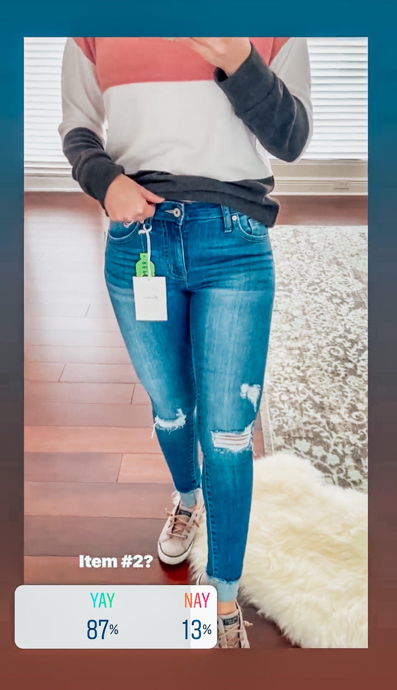 KAN CAN Annalise Skinny Distressed Frayed Hem Cuffed Jean 0   Blue $58.00