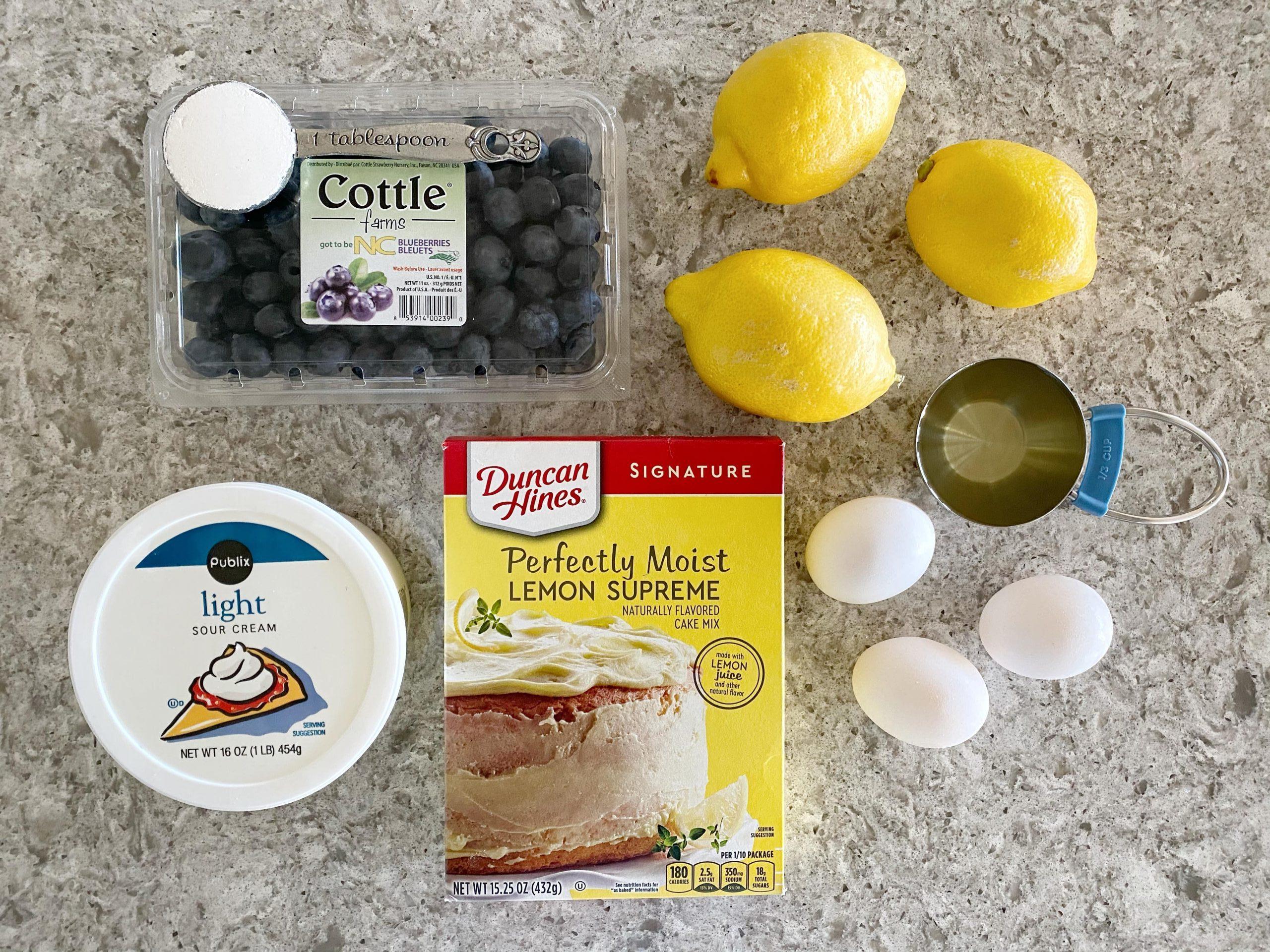 lemon blueberry cake loaf ingredients